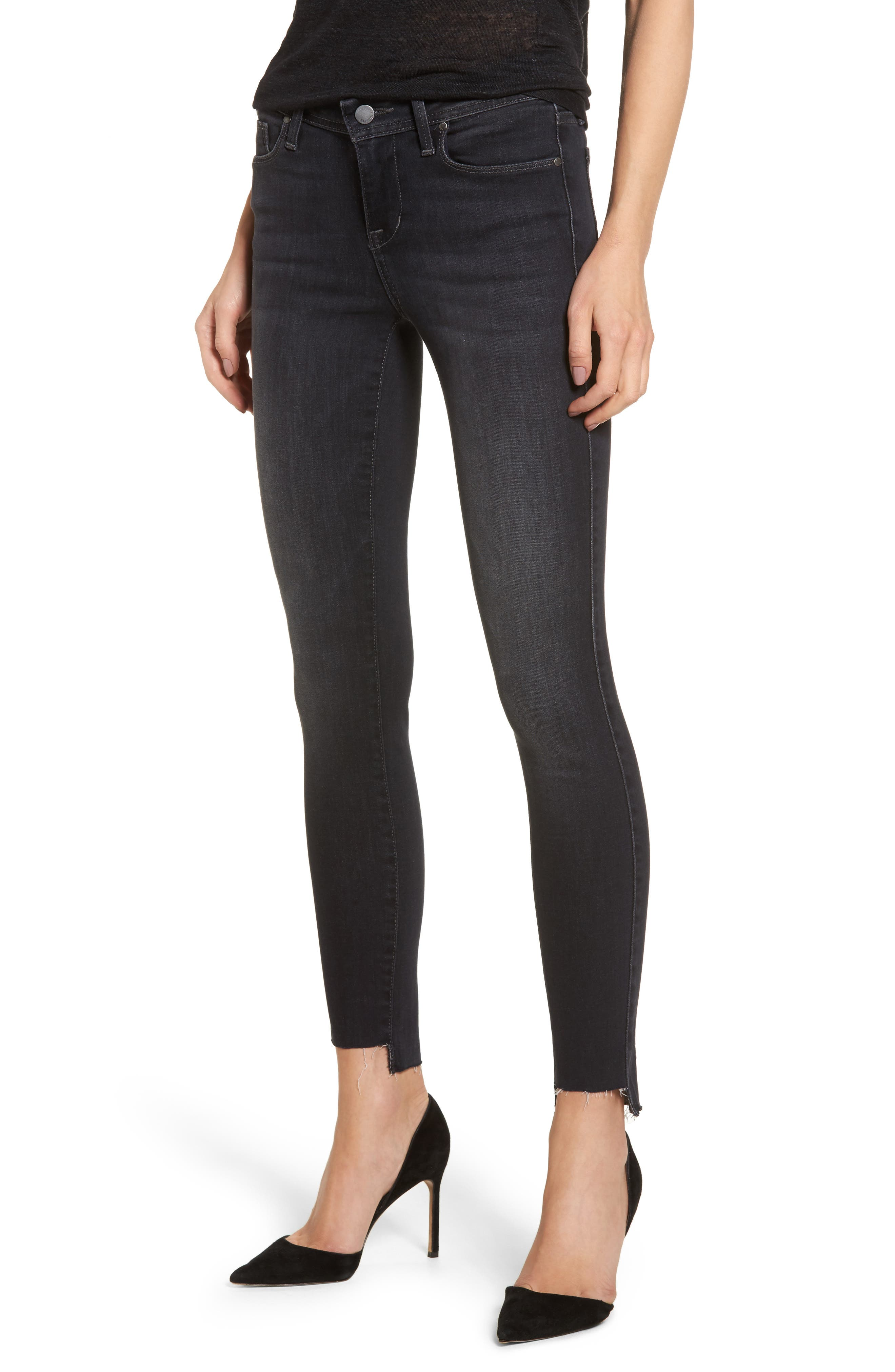 Mila Step Hem Skinny Jeans,                             Main thumbnail 1, color,                             AFTER MIDNIGHT