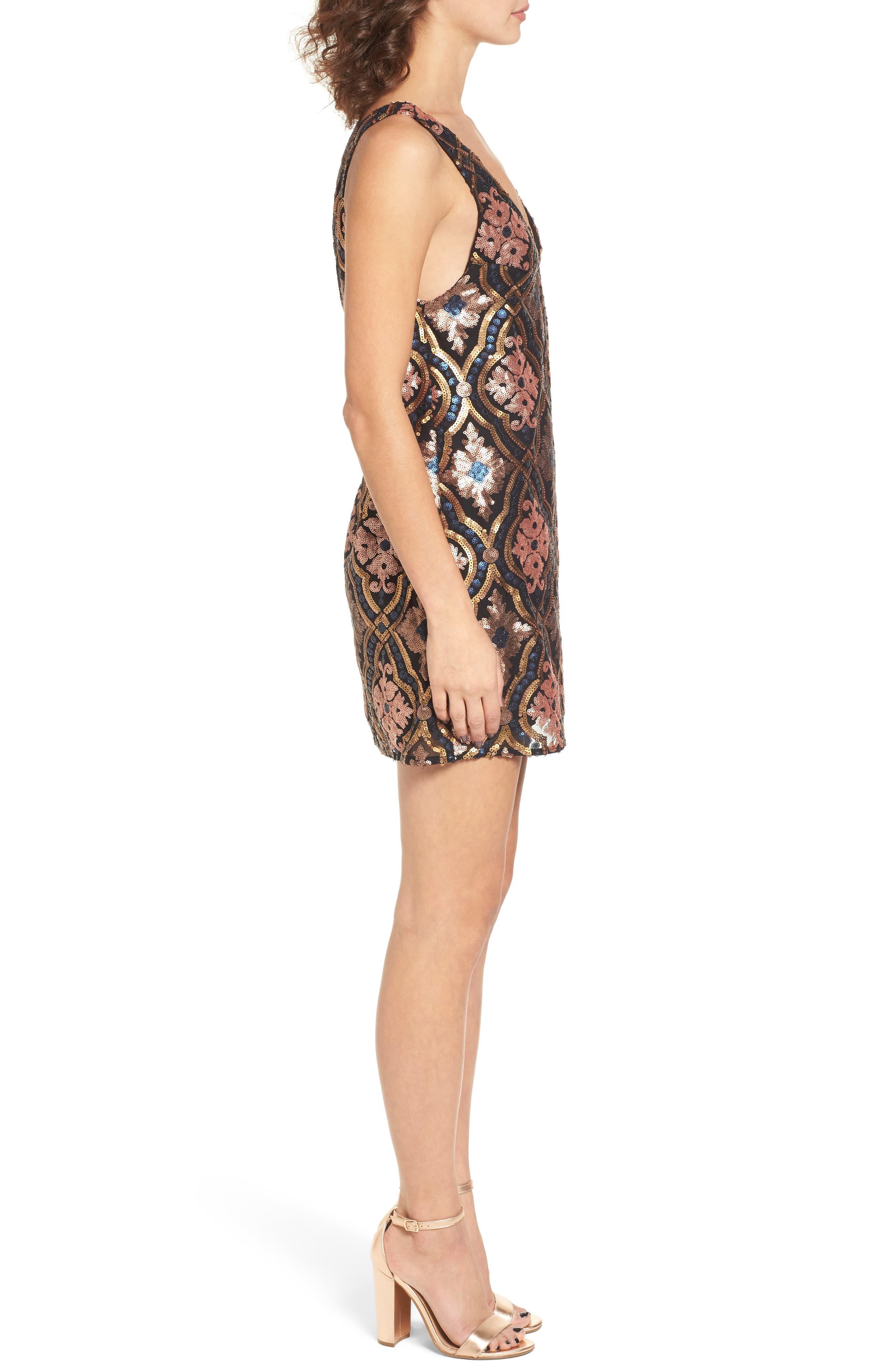 Double Dipper Sequin Dress,                             Alternate thumbnail 3, color,                             001