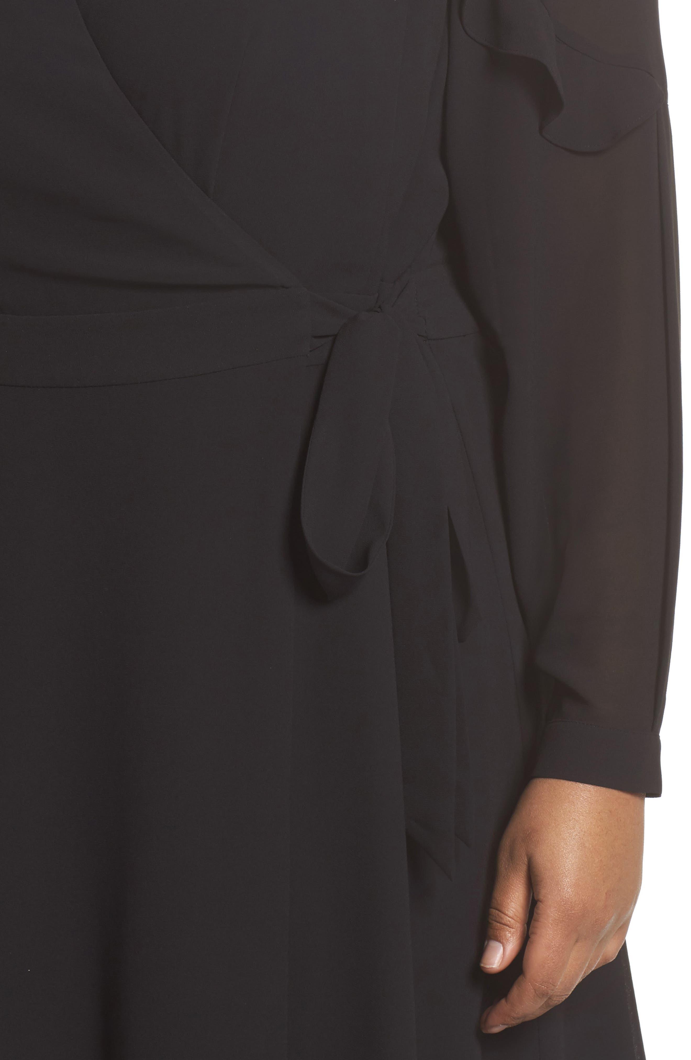 Smocked Wrap Dress,                             Alternate thumbnail 4, color,                             001