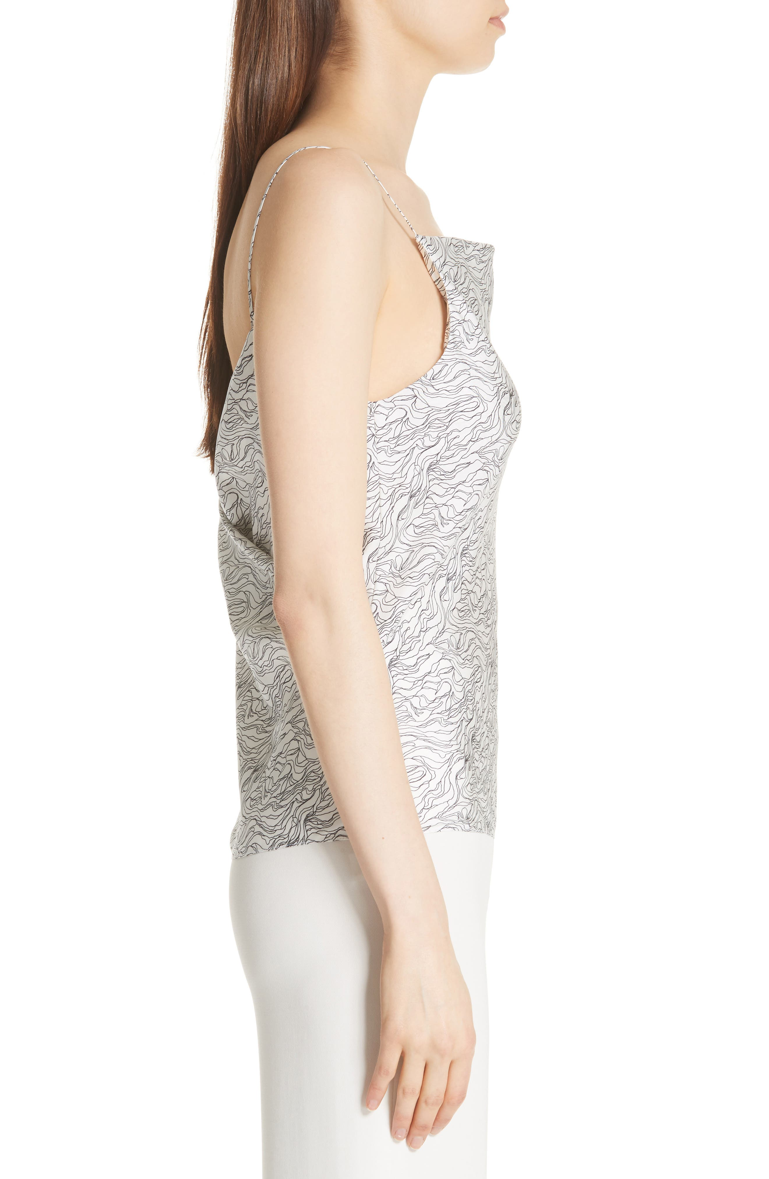 Summer Wave Cowl Back Silk Camisole,                             Alternate thumbnail 3, color,