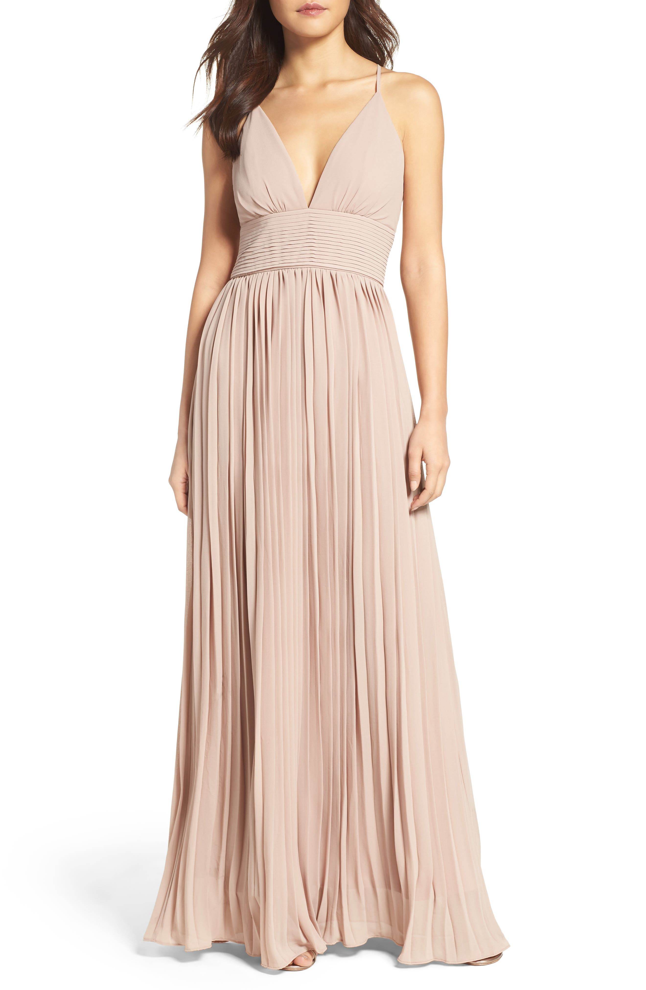 Plunging V-Neck Pleat Georgette Gown,                             Main thumbnail 3, color,