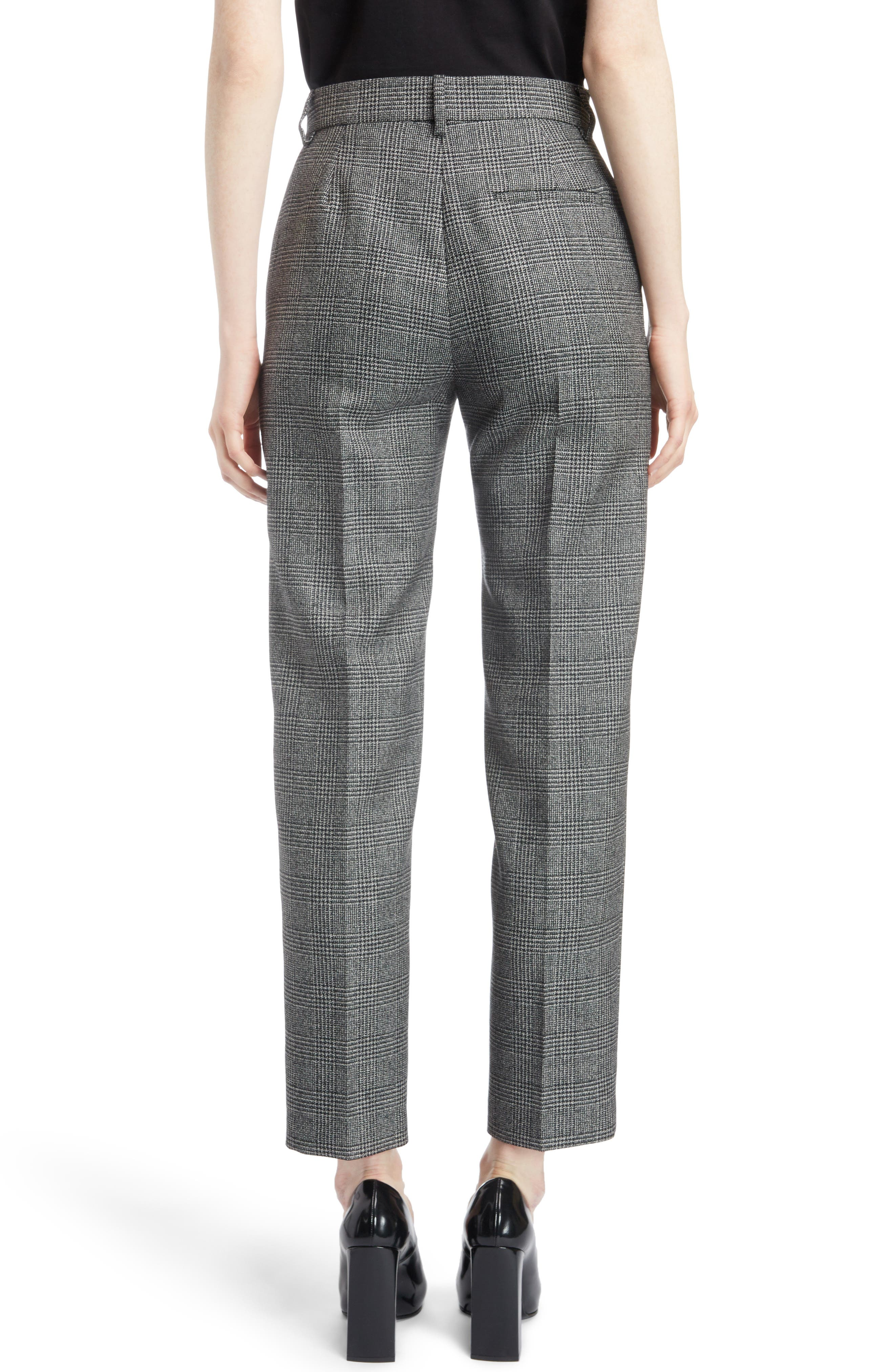 Prince of Wales Wool Carrot Trousers,                             Alternate thumbnail 2, color,                             1070-BLACK/ WHITE