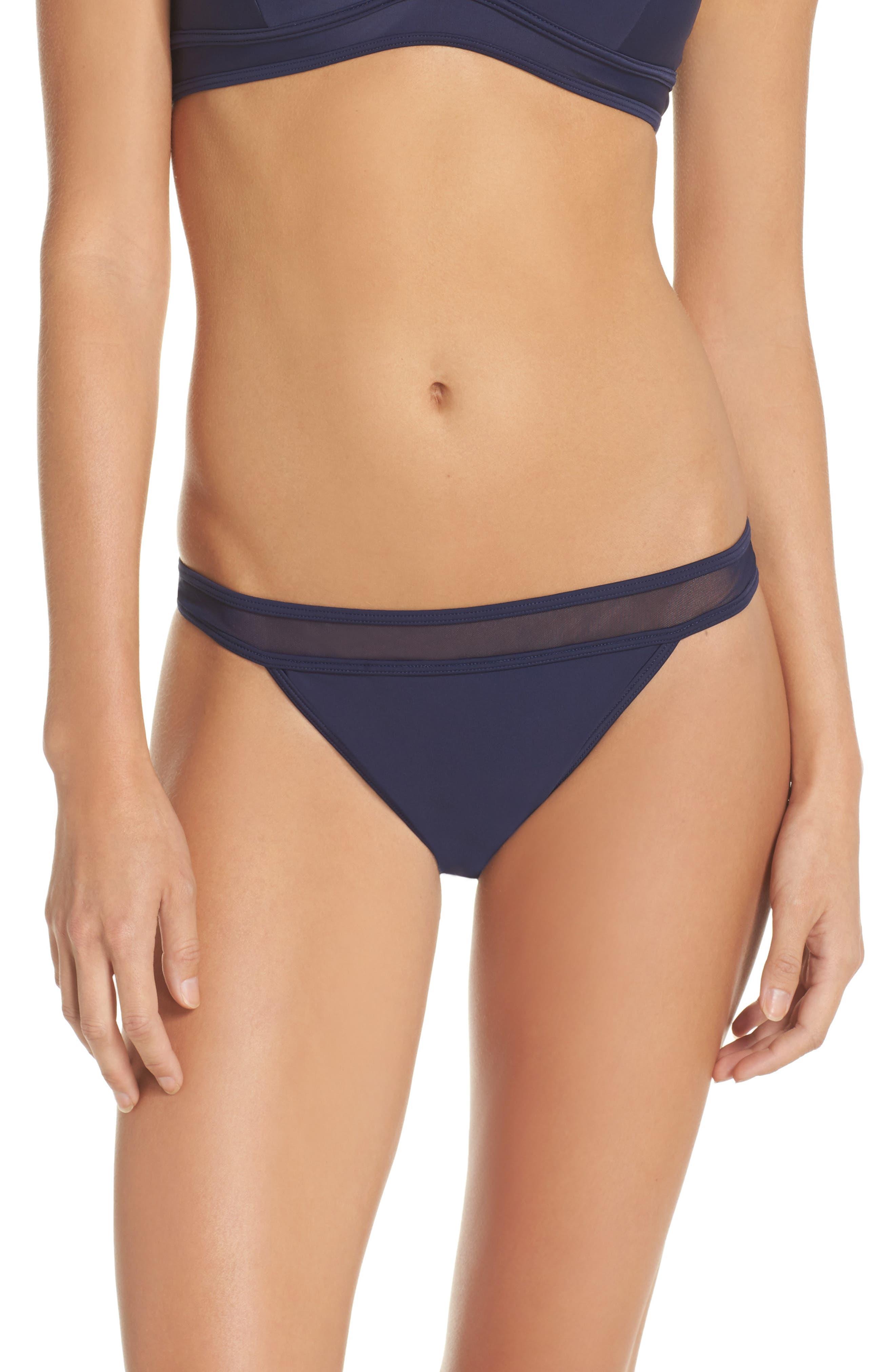 Mesh Inset Bikini Bottoms,                         Main,                         color, NAVY