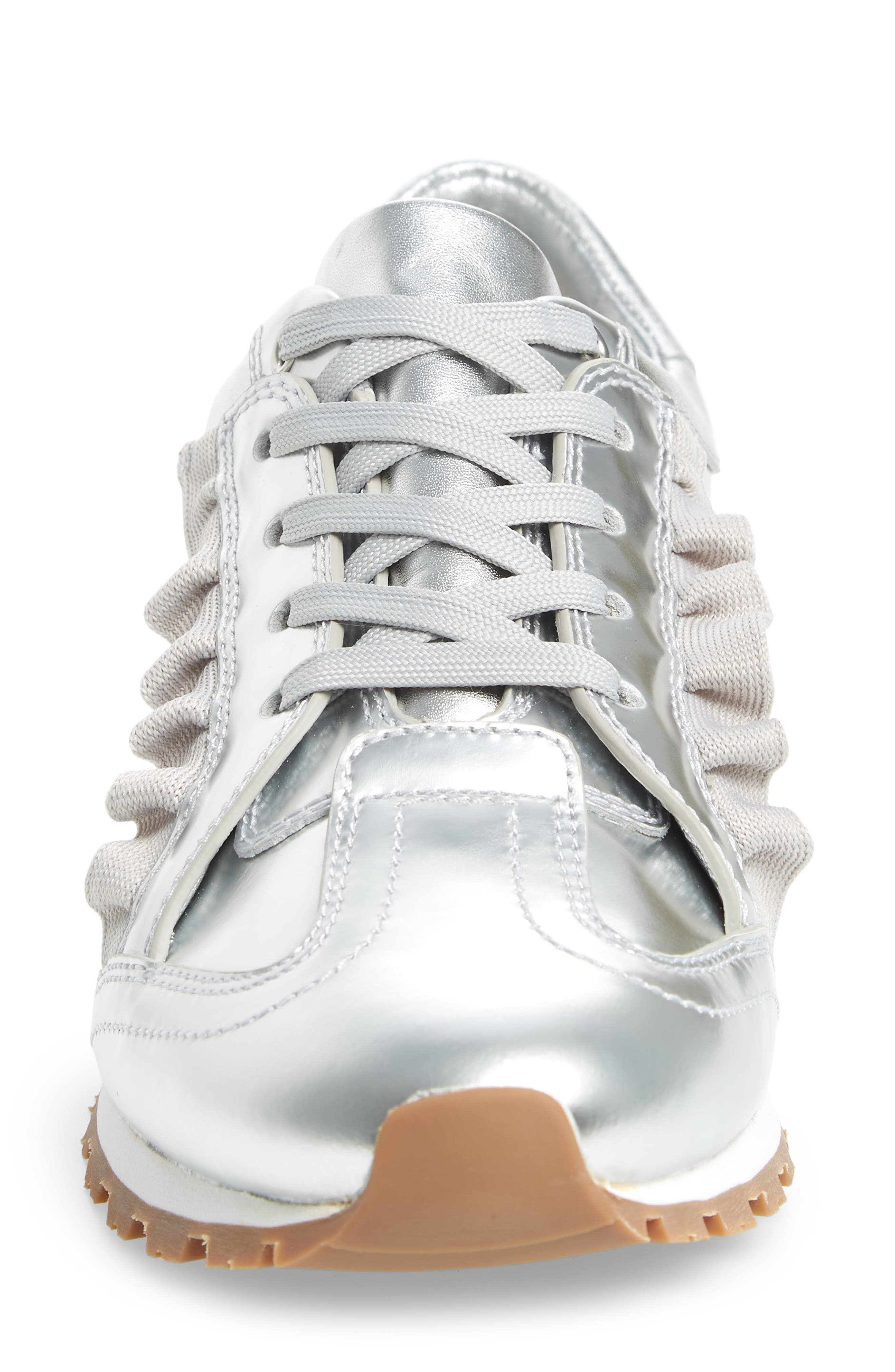 TORY SPORT,                             Ruffle Sneaker,                             Alternate thumbnail 4, color,                             SILVER/ GRAY