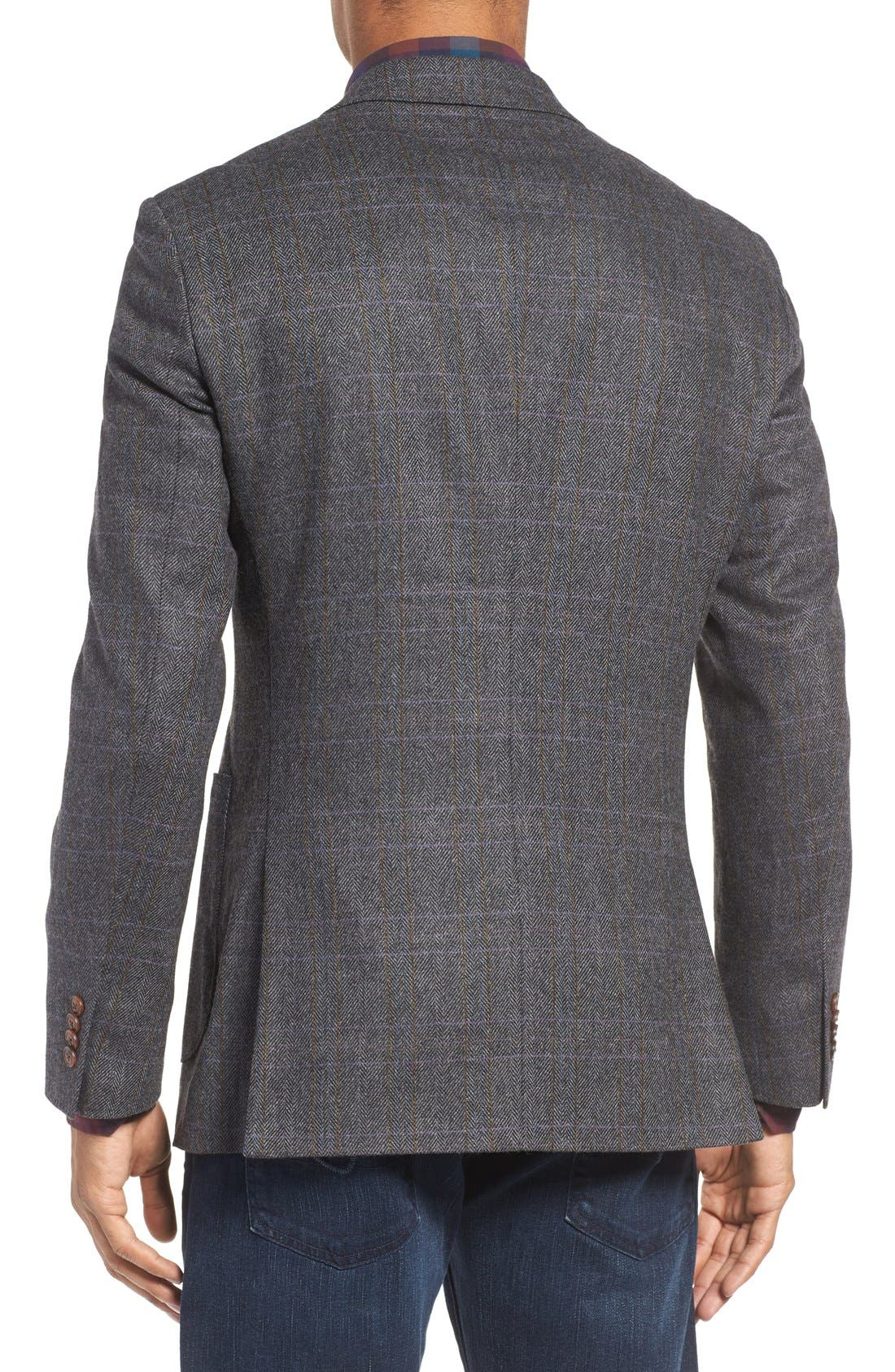 'Clareinch' Herringbone Plaid Sport Coat,                             Alternate thumbnail 3, color,