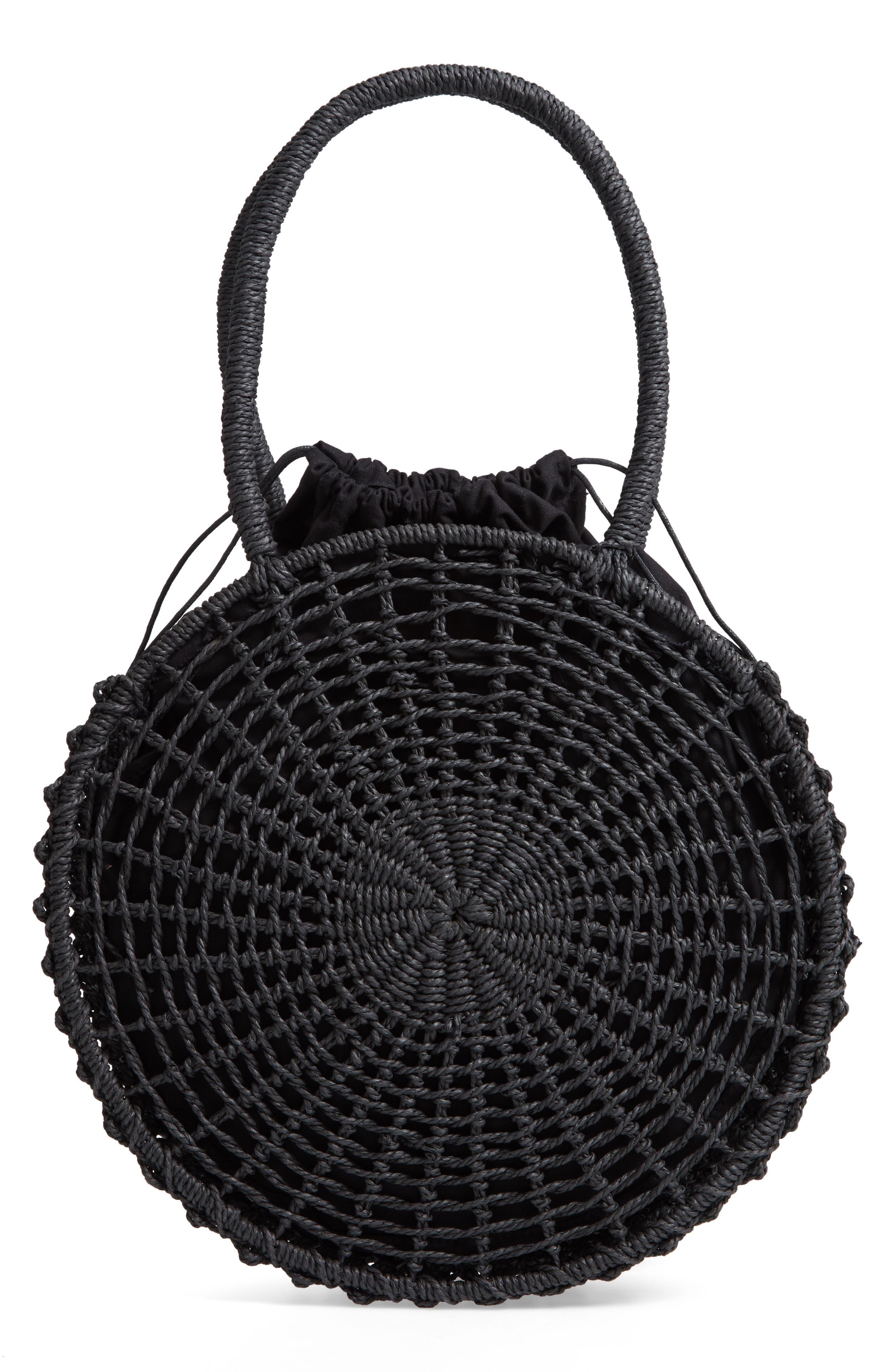 Bella Straw Circle Tote Handbag,                         Main,                         color, BLACK