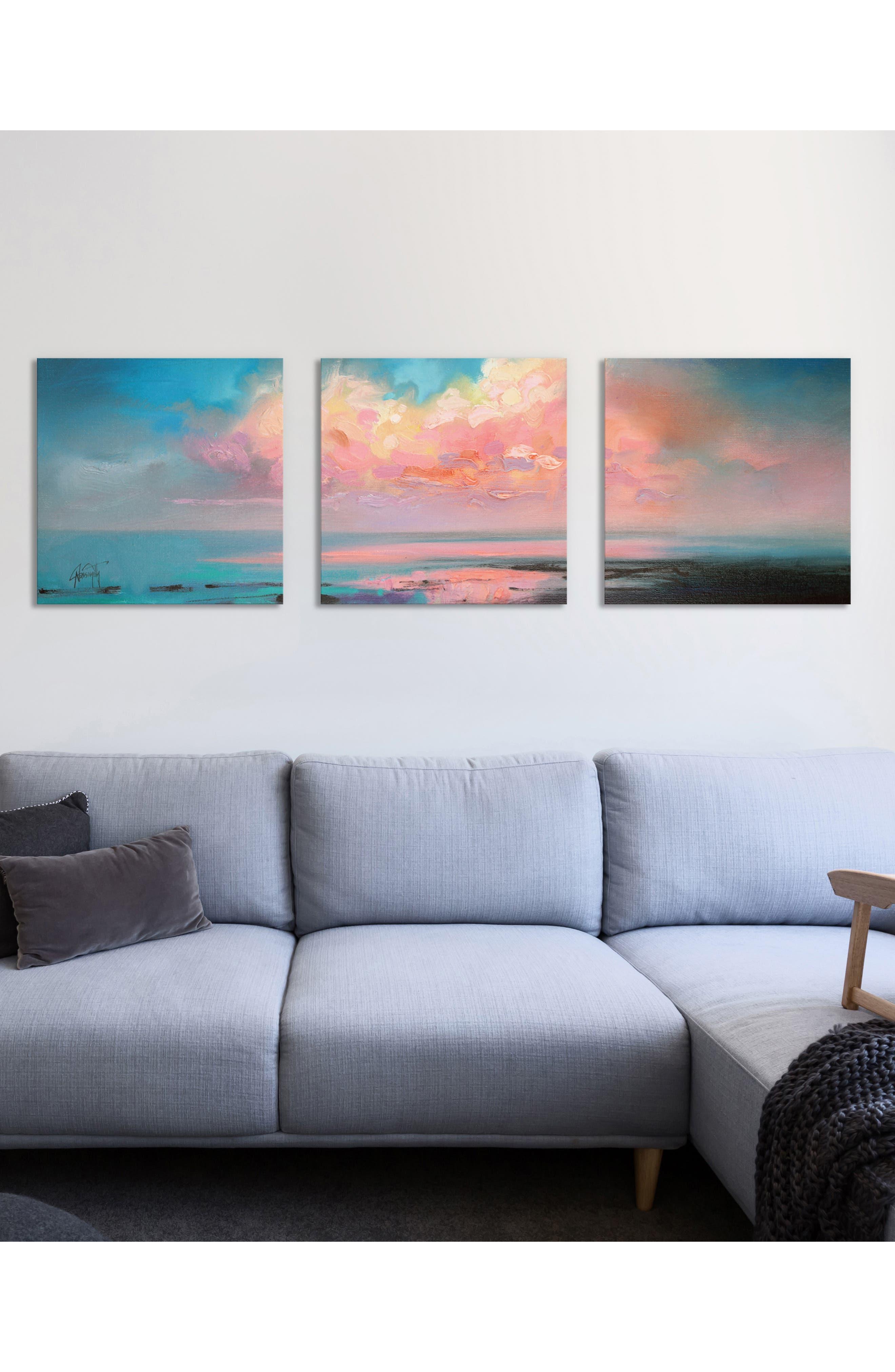 Atlantic Cumulus Giclée Print Canvas Triptych,                             Alternate thumbnail 2, color,                             BLUE