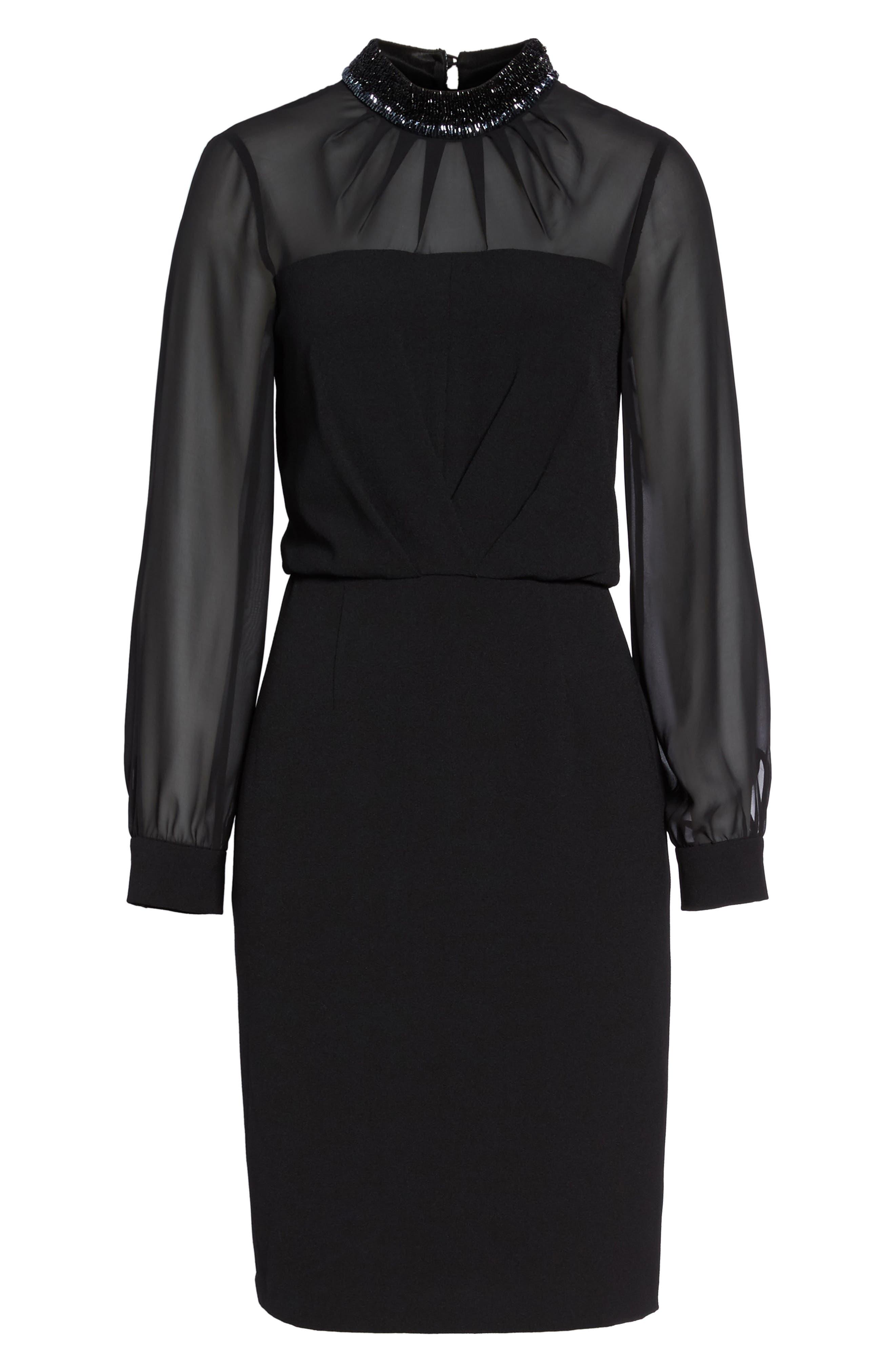 Jewel Neck Sheath Dress,                             Alternate thumbnail 6, color,                             002