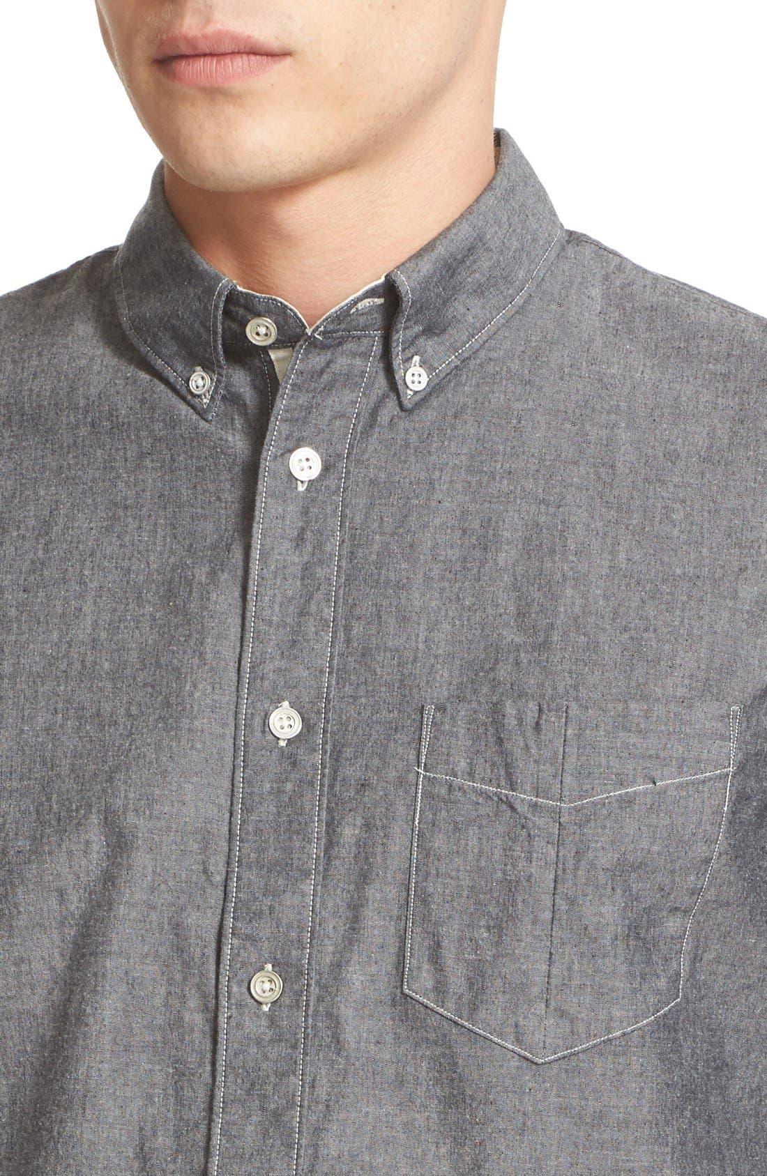 Trim Fit Chambray Shirt,                             Alternate thumbnail 5, color,                             020