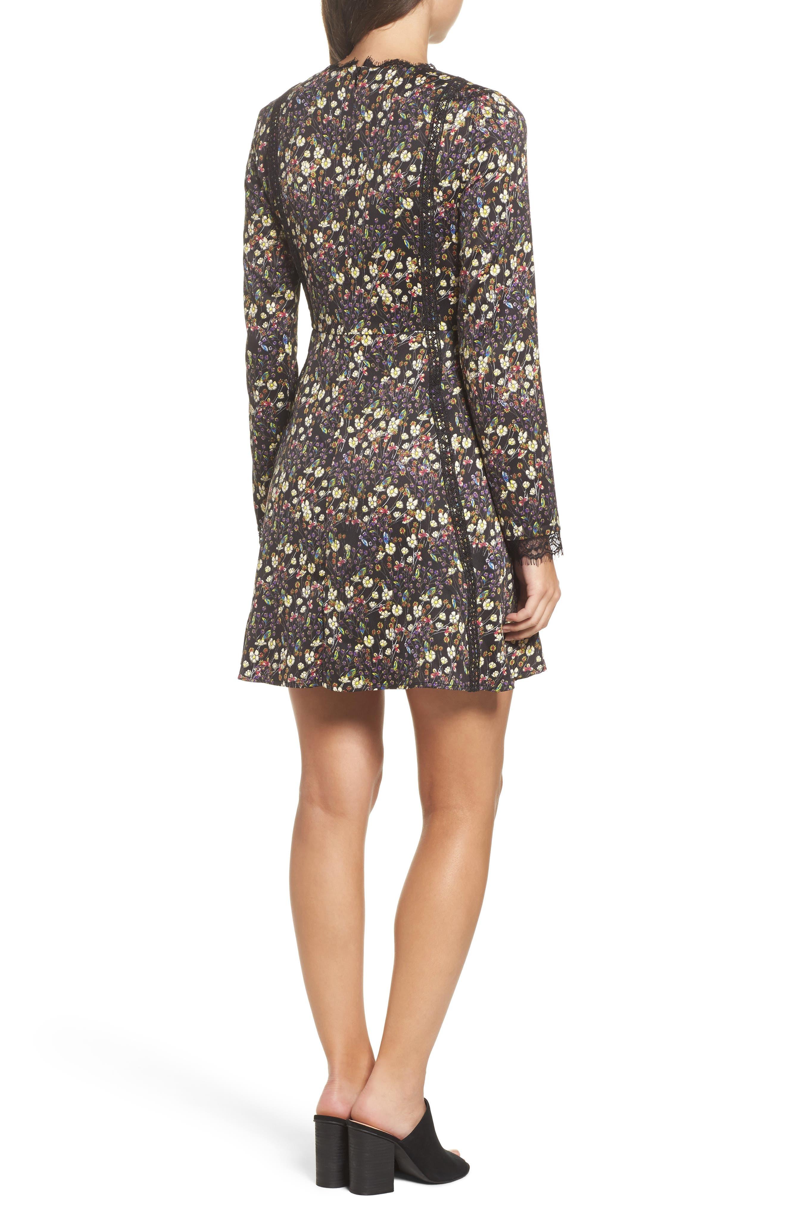 Hallie Fit & Flare Dress,                             Alternate thumbnail 2, color,                             BLACK MULTI