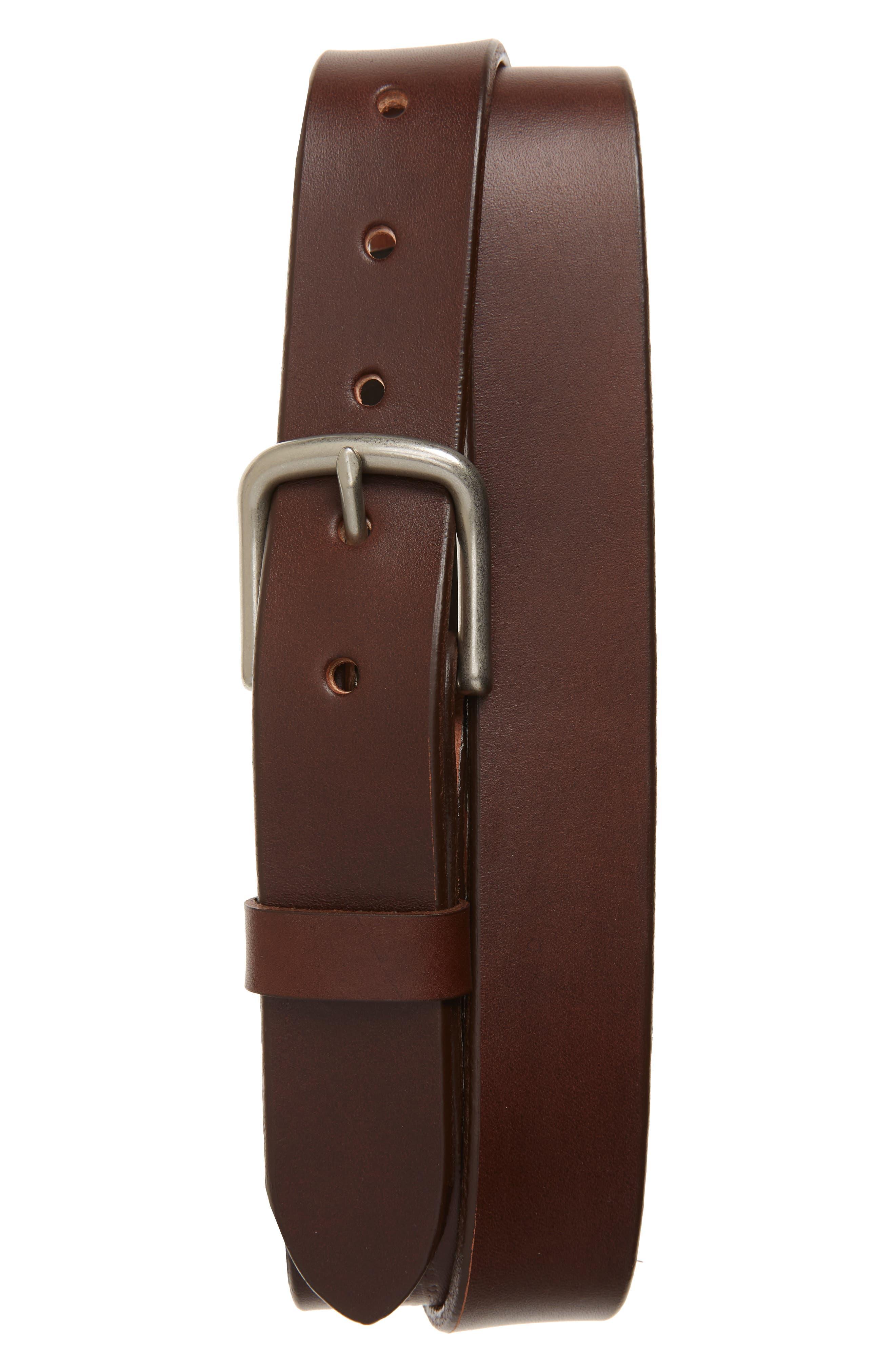 Classic Leather Belt,                         Main,                         color, COGNAC/ BRUSHED STEEL