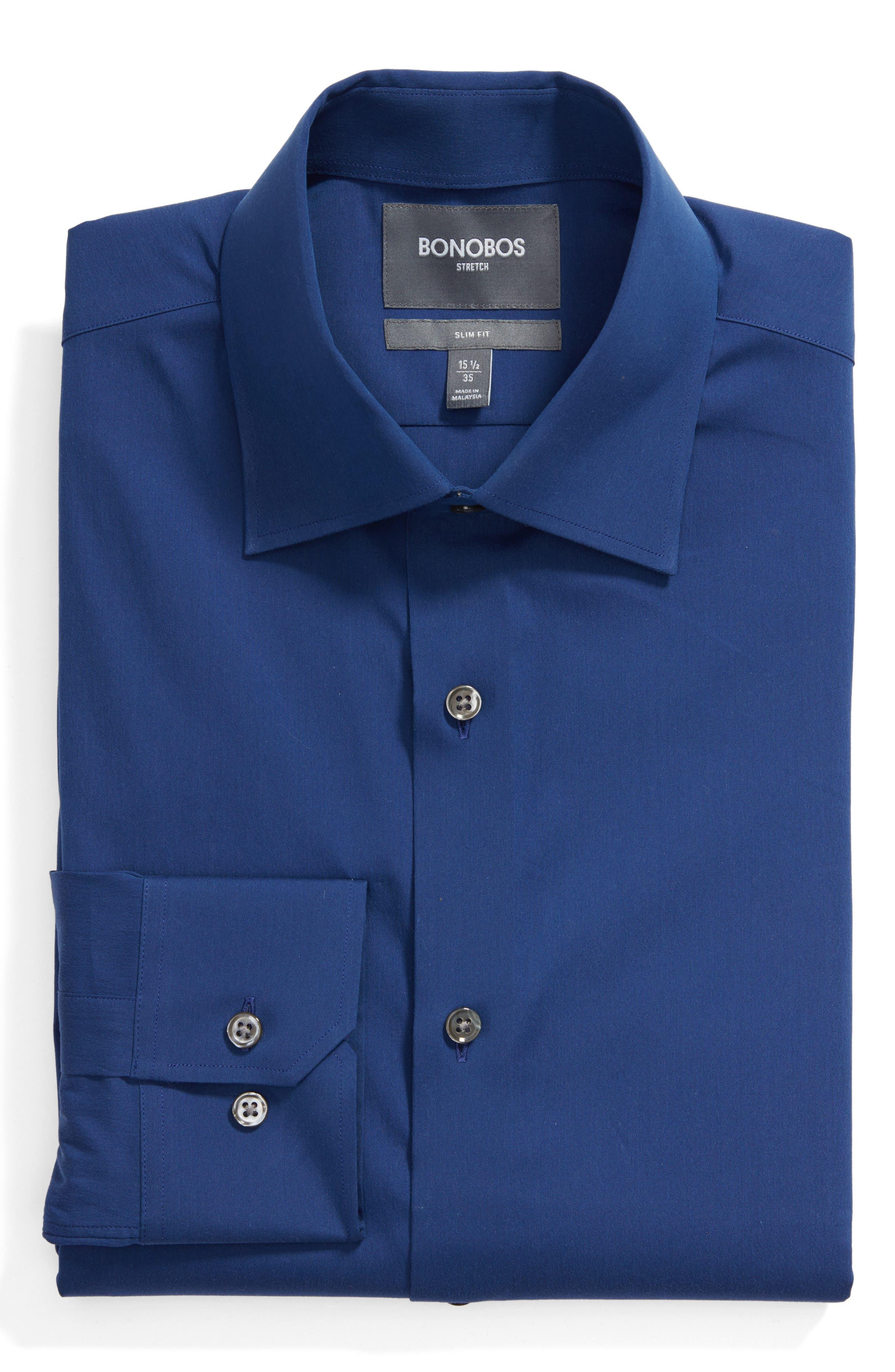 Slim Fit Solid Dress Shirt,                             Main thumbnail 1, color,                             400