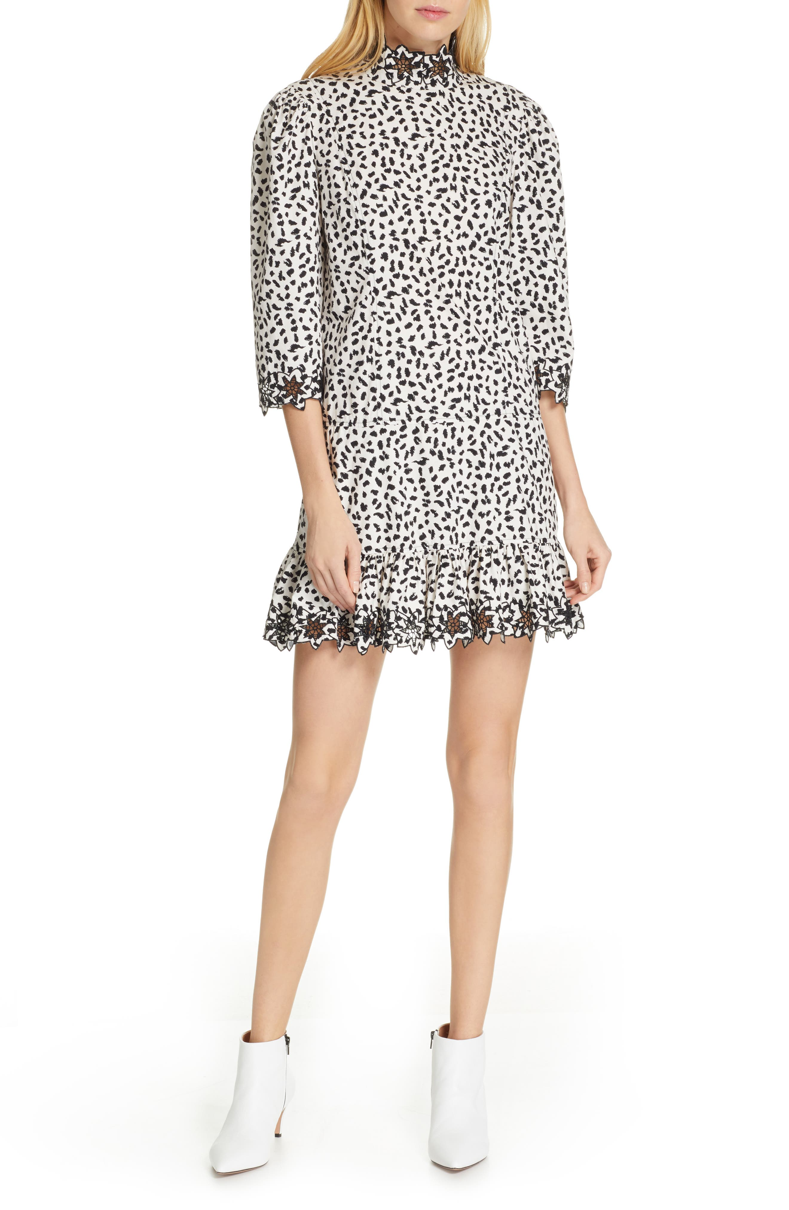 La Vie Rebecca Taylor Embellished Animal Print Dress, Beige