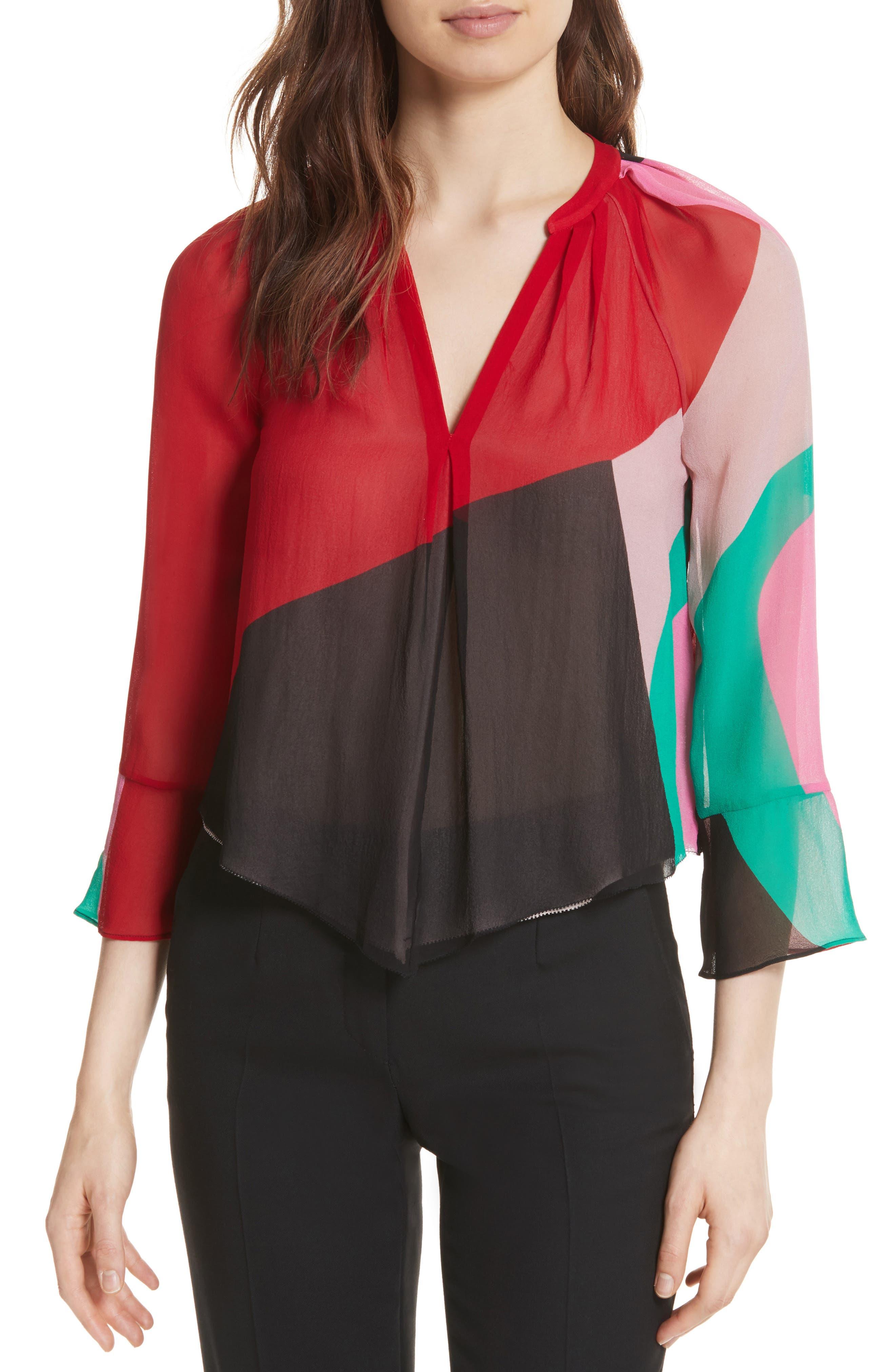 Quinlynn Colorblock Silk Top,                         Main,                         color, 629
