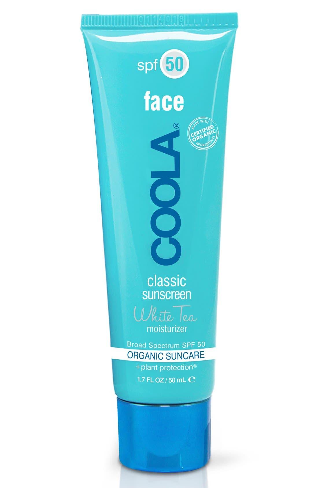 COOLA<sup>®</sup> Suncare White Tea Sport Face Moisturizer SPF 50,                             Main thumbnail 1, color,                             NO COLOR