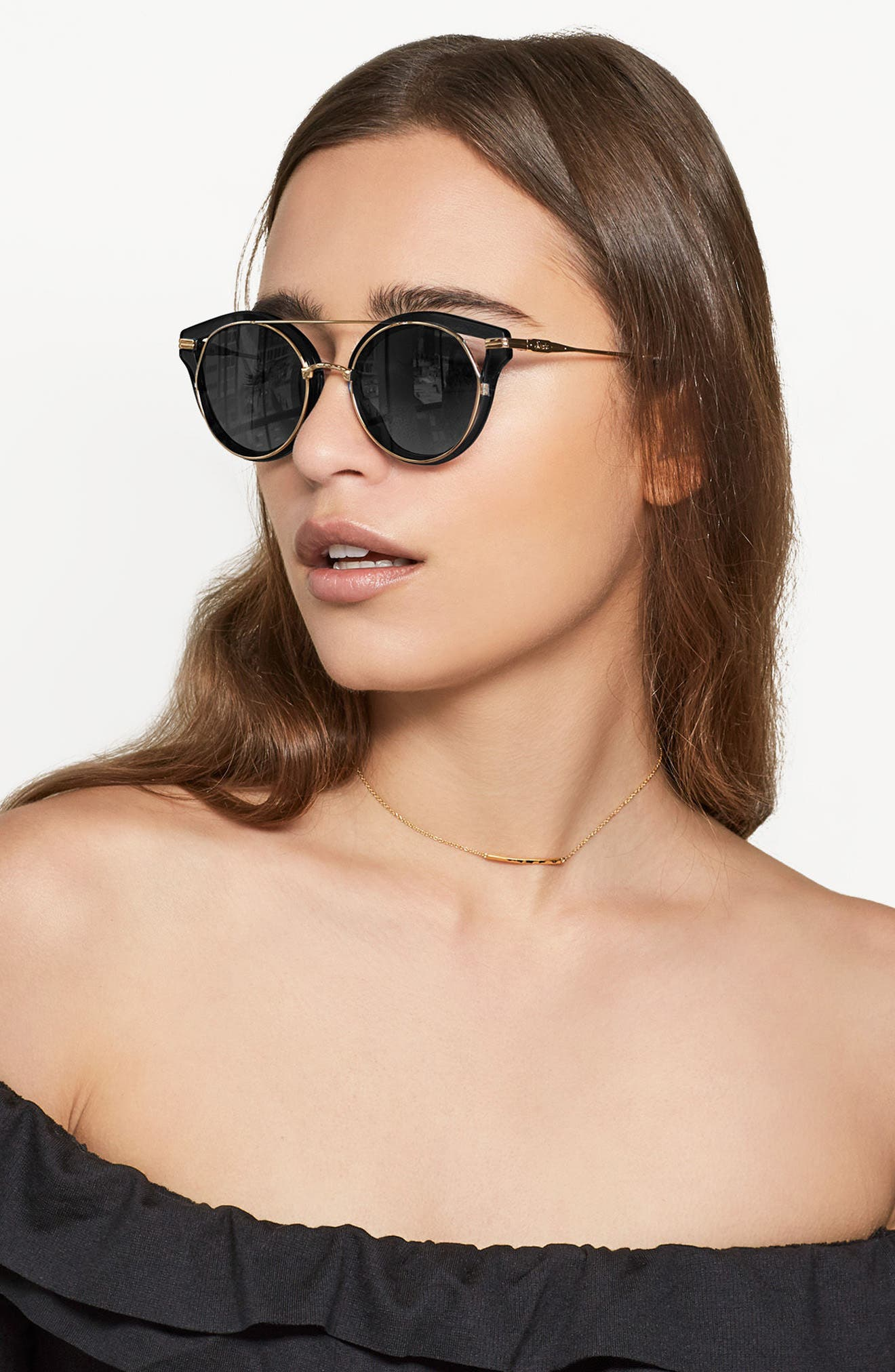 SONIX,                             Preston 51mm Gradient Round Sunglasses,                             Alternate thumbnail 4, color,                             001