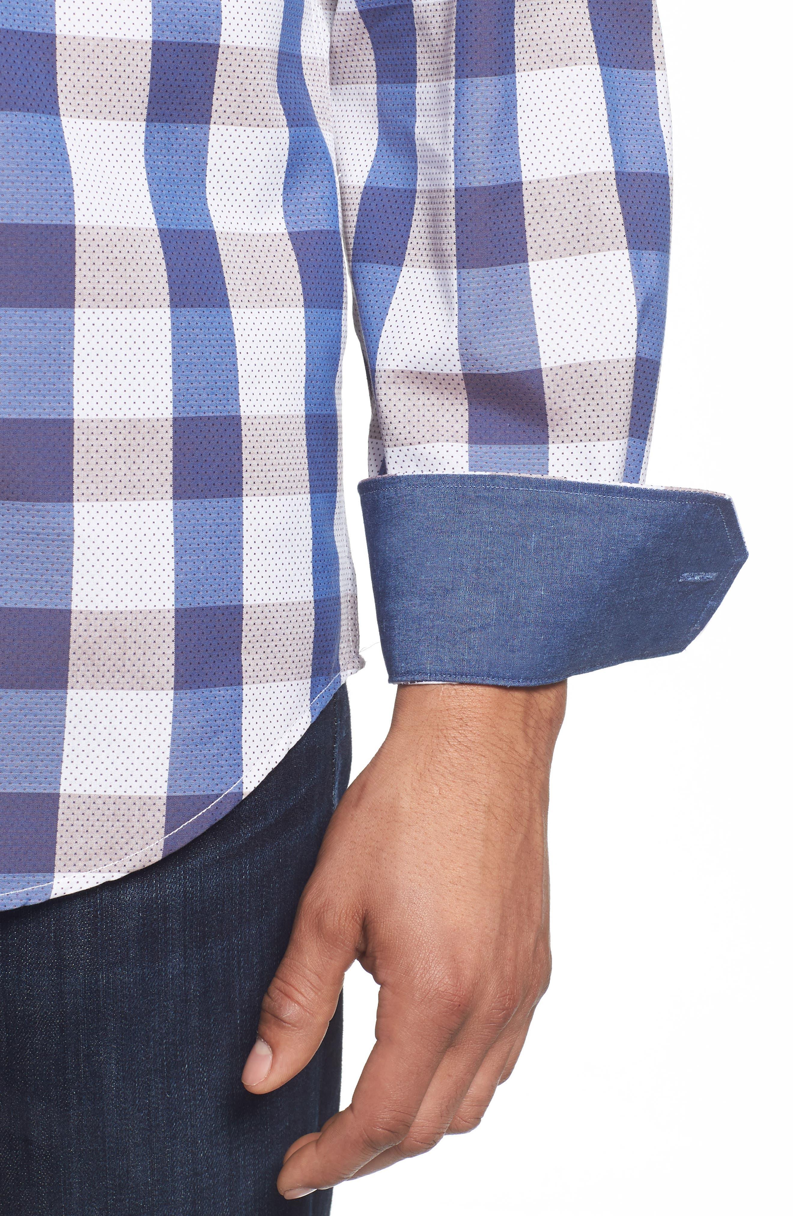 BUGATCHI,                             Classic Fit Check on Dot Sport Shirt,                             Alternate thumbnail 4, color,                             104