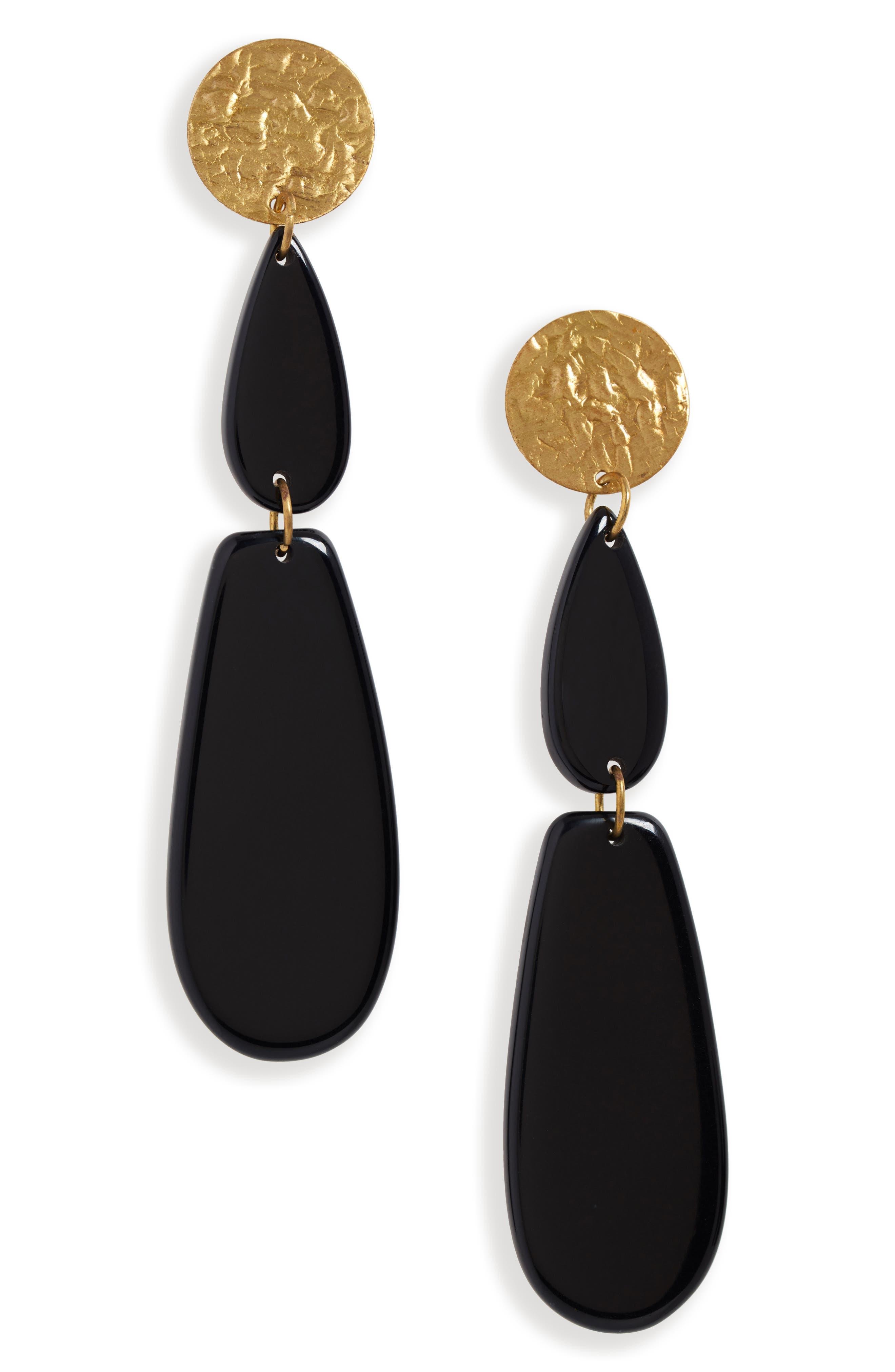 AREA STARS Alix Drop Earrings in Black