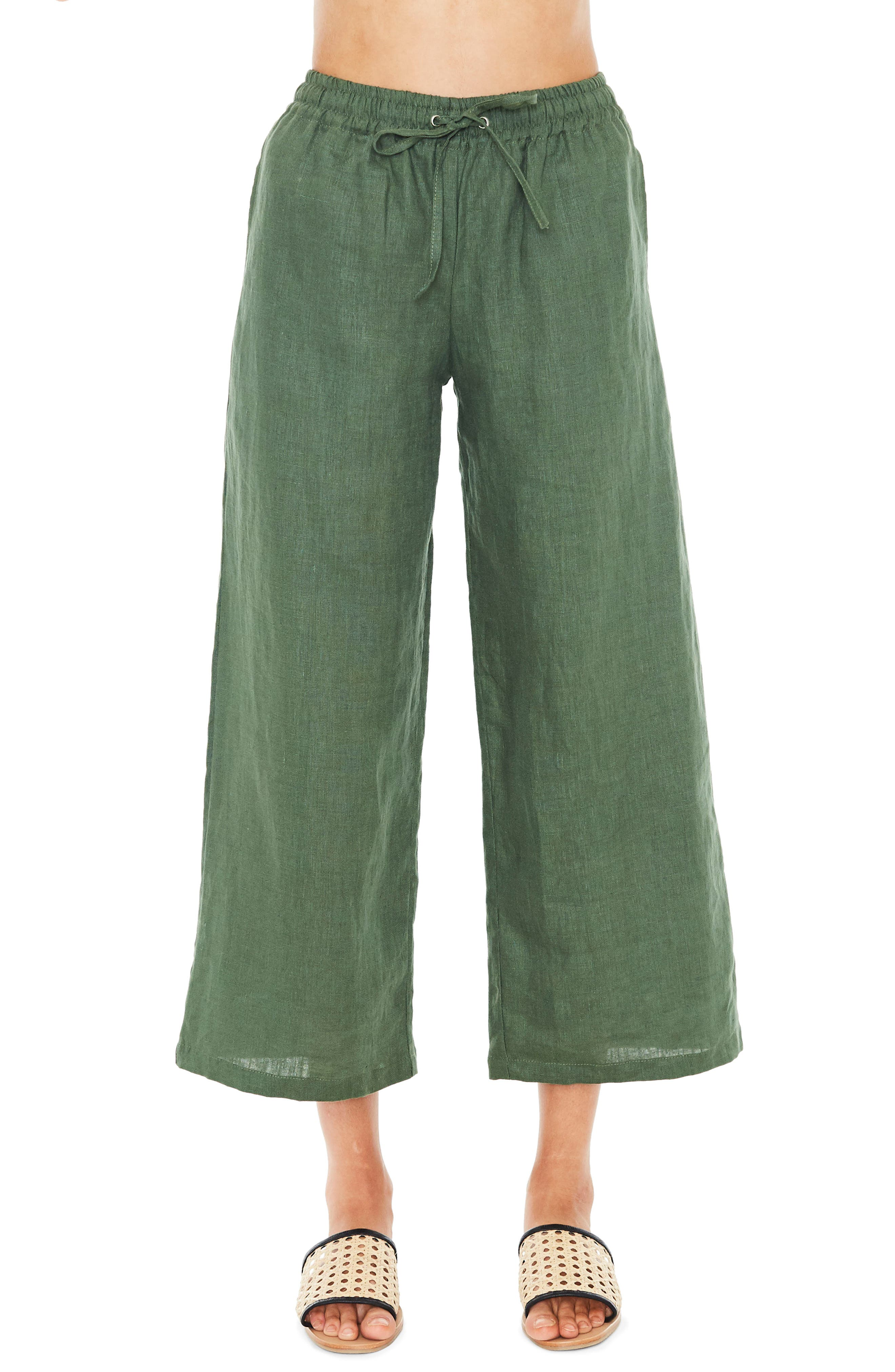 Clemence Linen Pants,                             Main thumbnail 1, color,                             PLAIN MOSS GREEN