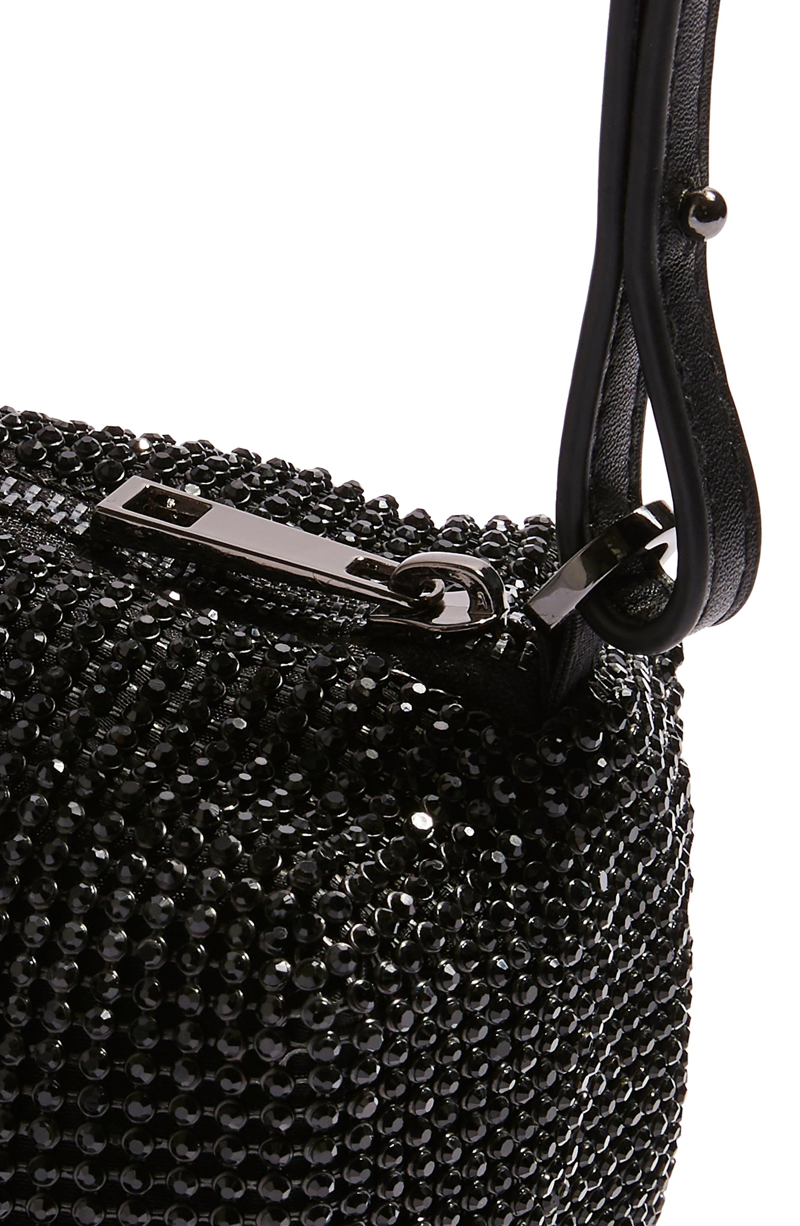 Chia Crystal Embellished Crossbody Bag,                             Alternate thumbnail 7, color,                             BLACK