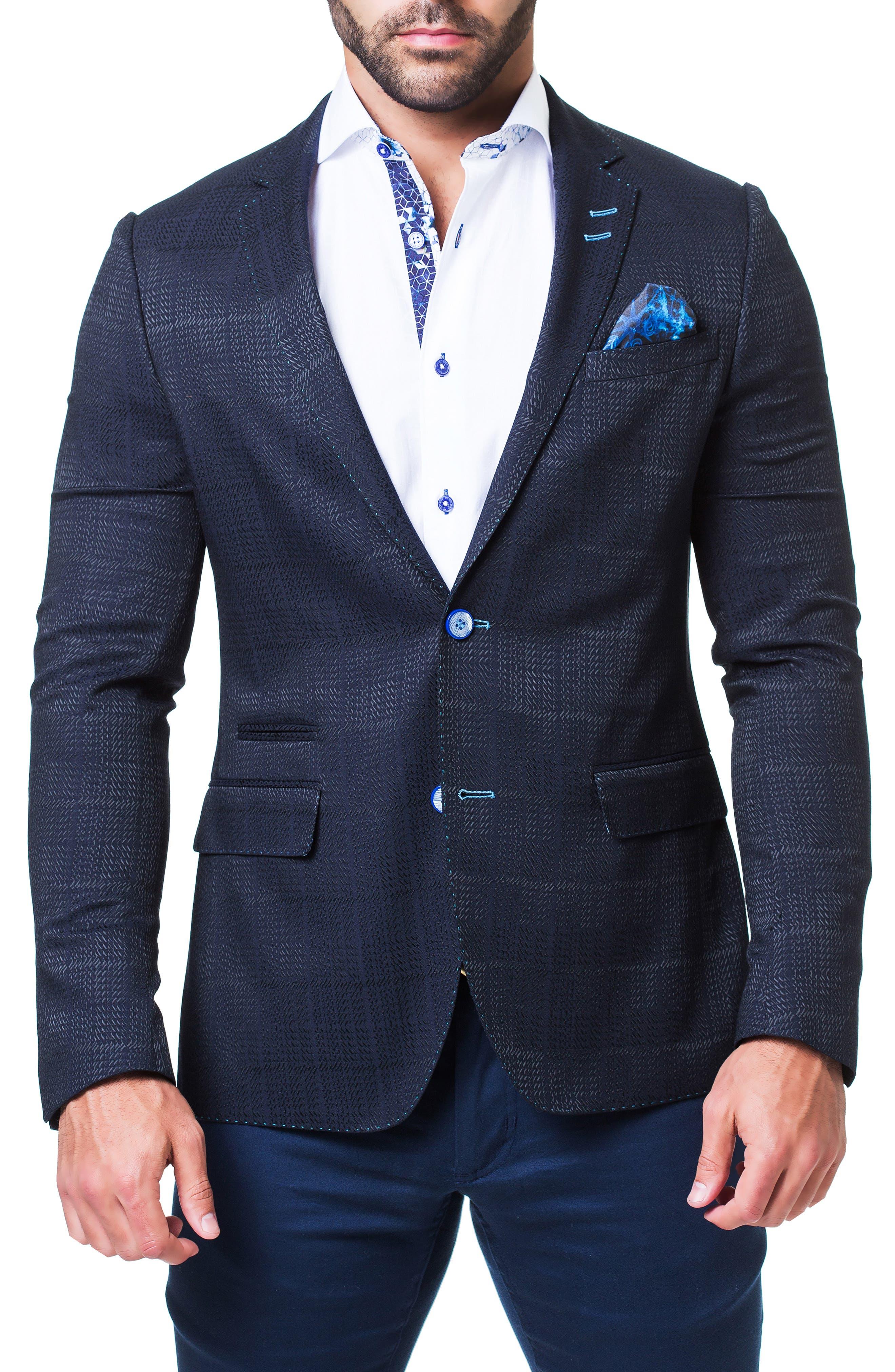 MACEOO Socrate Tremble Jacquard Sport Coat in Blue