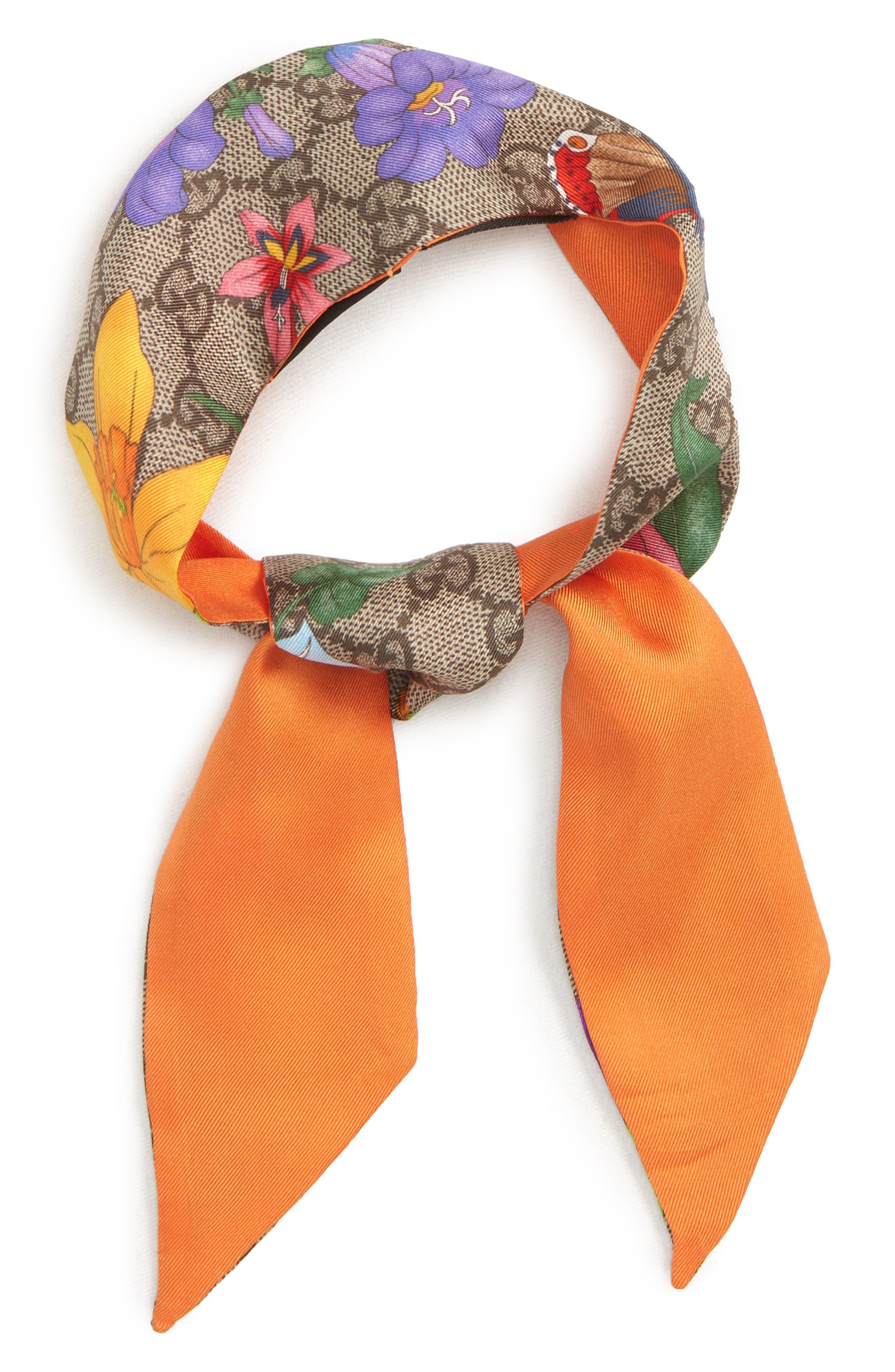 Flora Fluorescent Silk Neck Bow,                             Alternate thumbnail 2, color,                             ORANGE