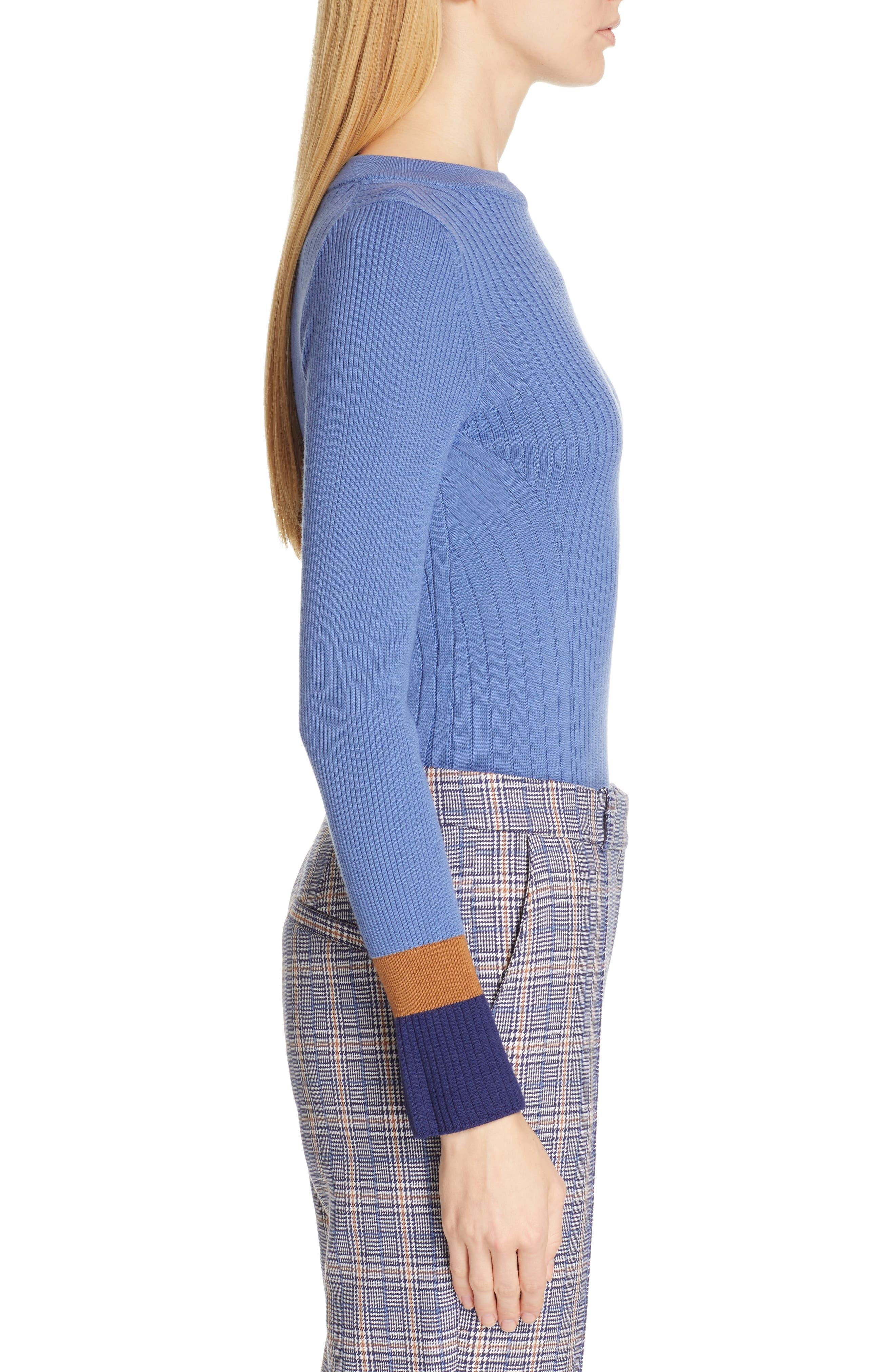Fadeline Blue Fantasy Ribbed Wool Sweater,                             Alternate thumbnail 3, color,                             SOFT BLUE FANTASY