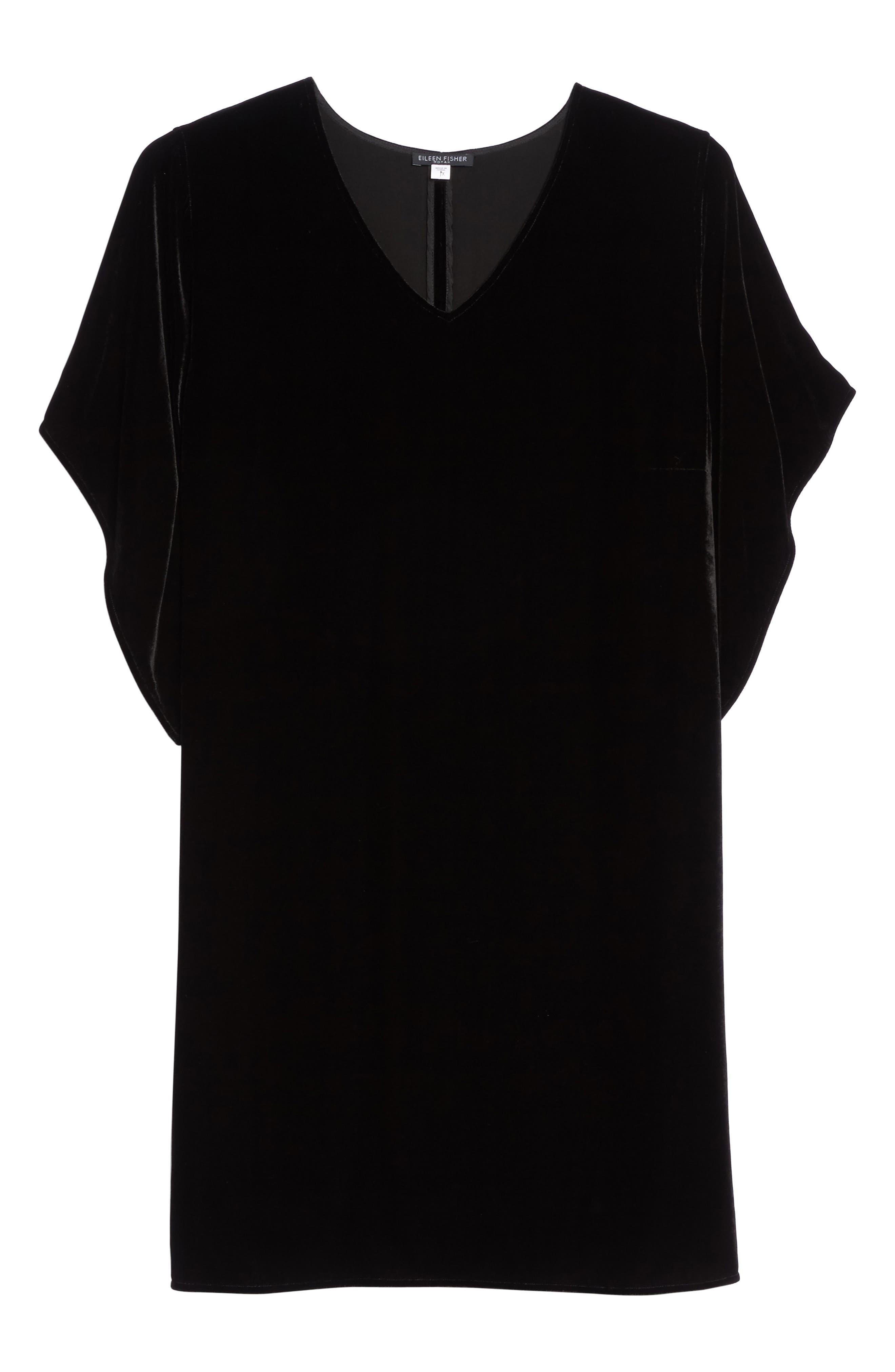 Kimono V-Neck Velvet Dress,                             Alternate thumbnail 6, color,                             001