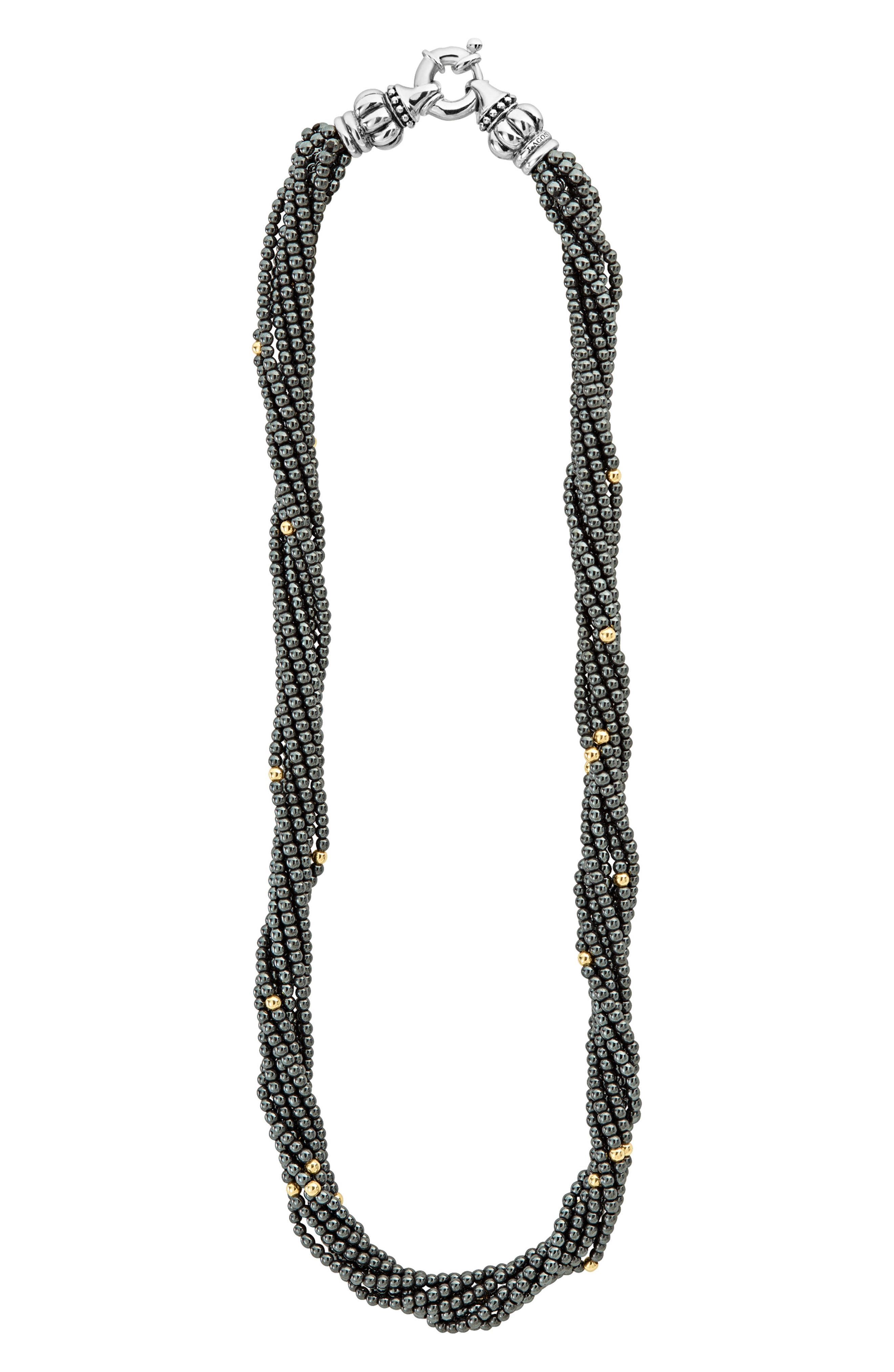 LAGOS,                             Caviar Icon Hematite Necklace,                             Alternate thumbnail 4, color,                             HEMATITE