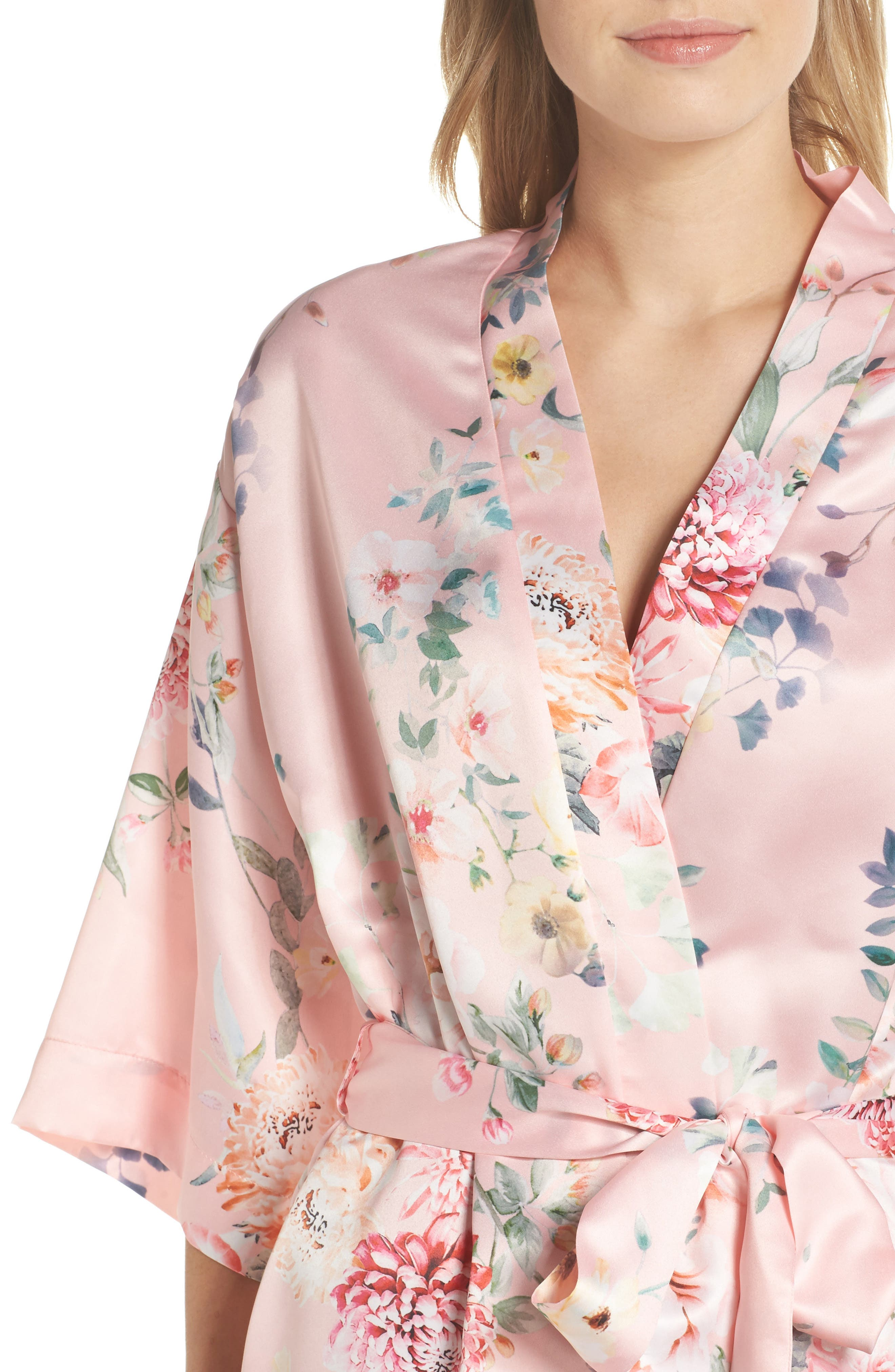 Renata Short Satin Robe,                             Alternate thumbnail 15, color,