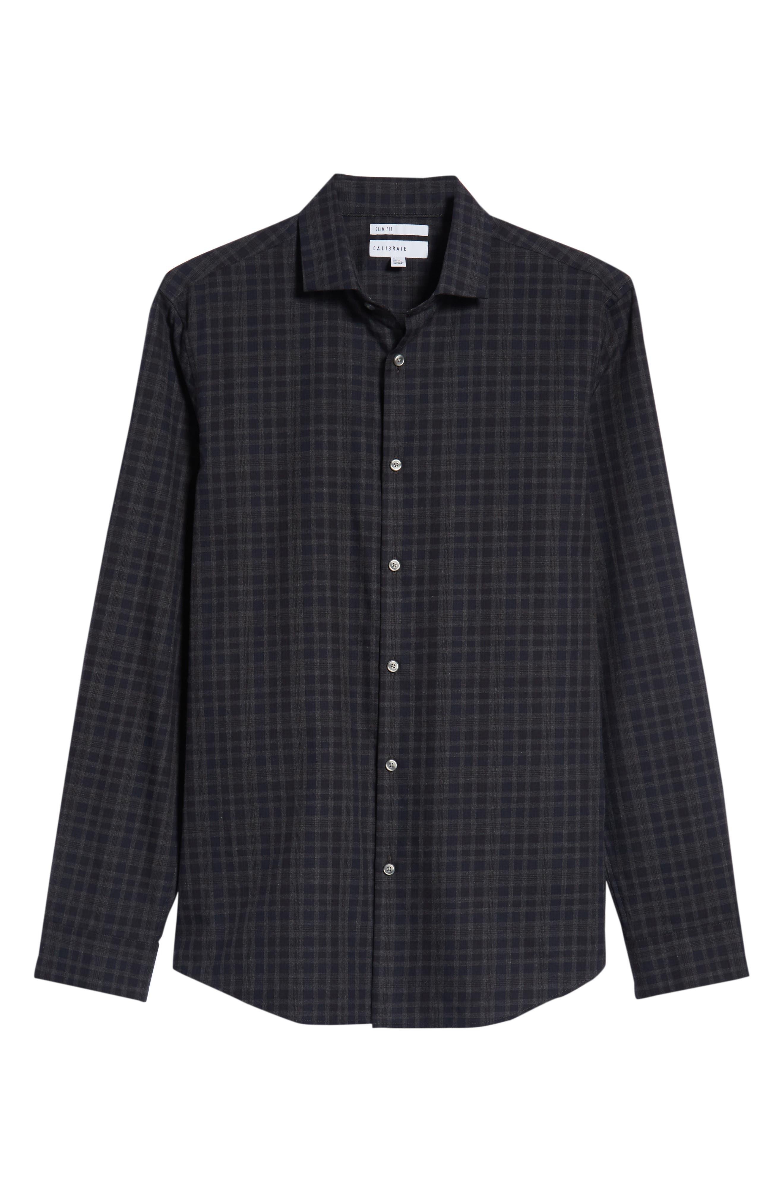 Slim Fit Check Flannel Sport Shirt,                             Alternate thumbnail 5, color,                             BLACK HEATHER NAVY CHECK