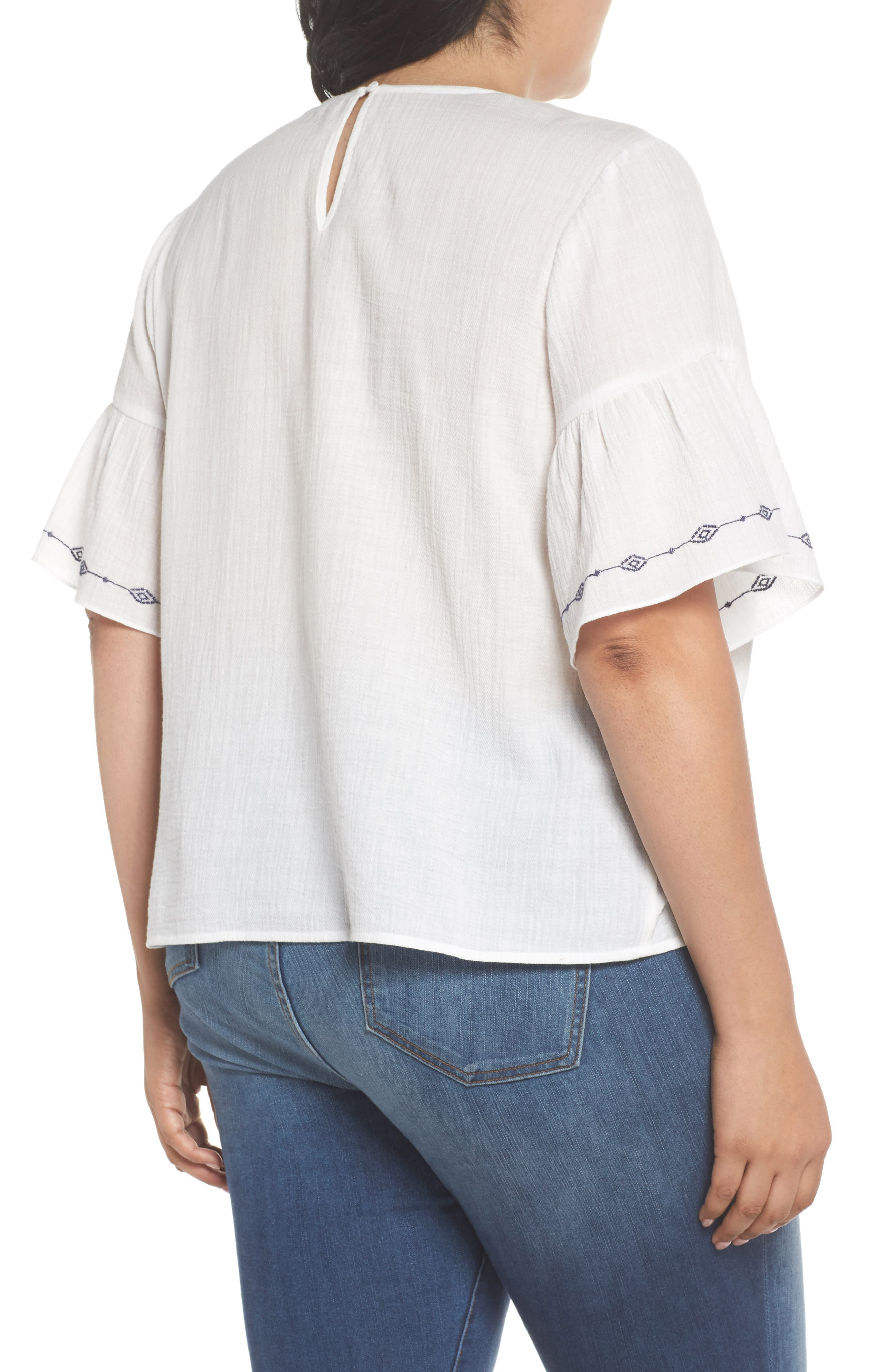 Ruffle Sleeve Embroidered Crinkle Cotton Top,                             Alternate thumbnail 2, color,                             ULTRA WHIT