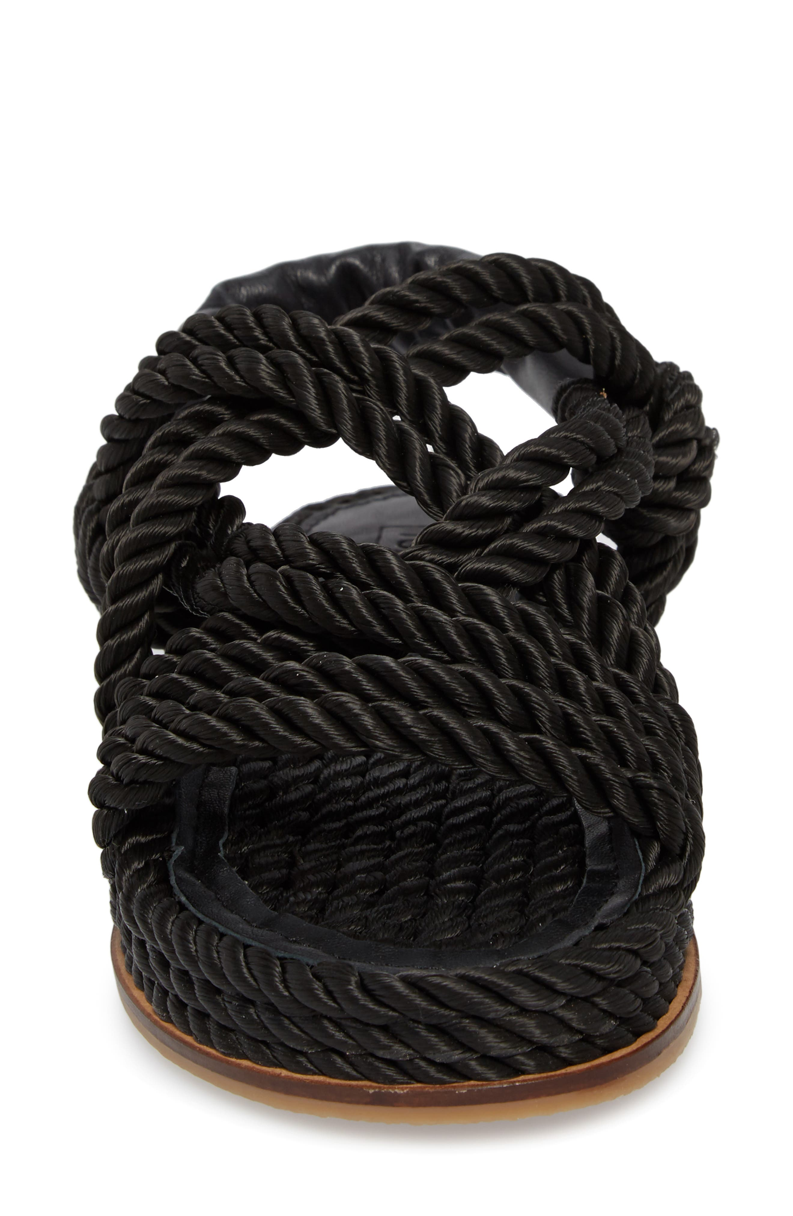 Fiesta Rope Flat Sandal,                             Alternate thumbnail 4, color,                             001