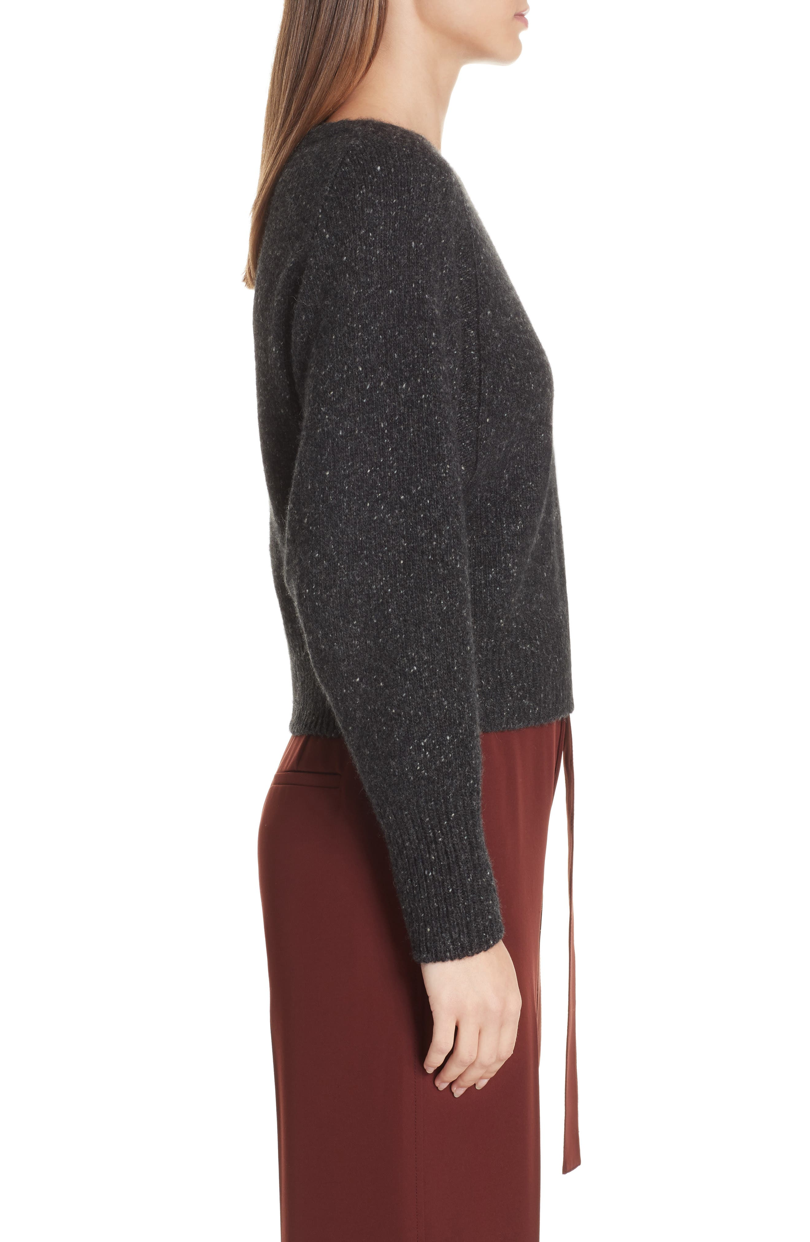 Cashmere Boatneck Sweater,                             Alternate thumbnail 3, color,                             CHARCOAL