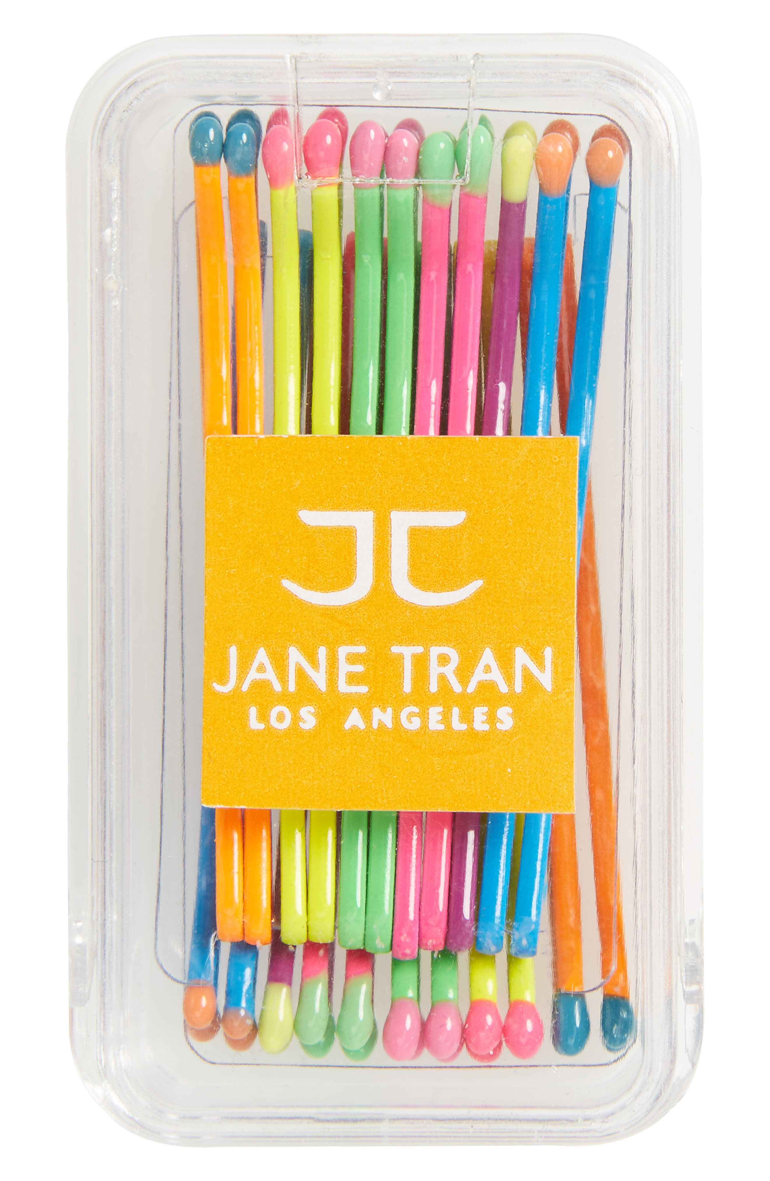 Neon Rainbow Matchsticks Set of 20 Assorted Bobby Pins,                             Main thumbnail 1, color,