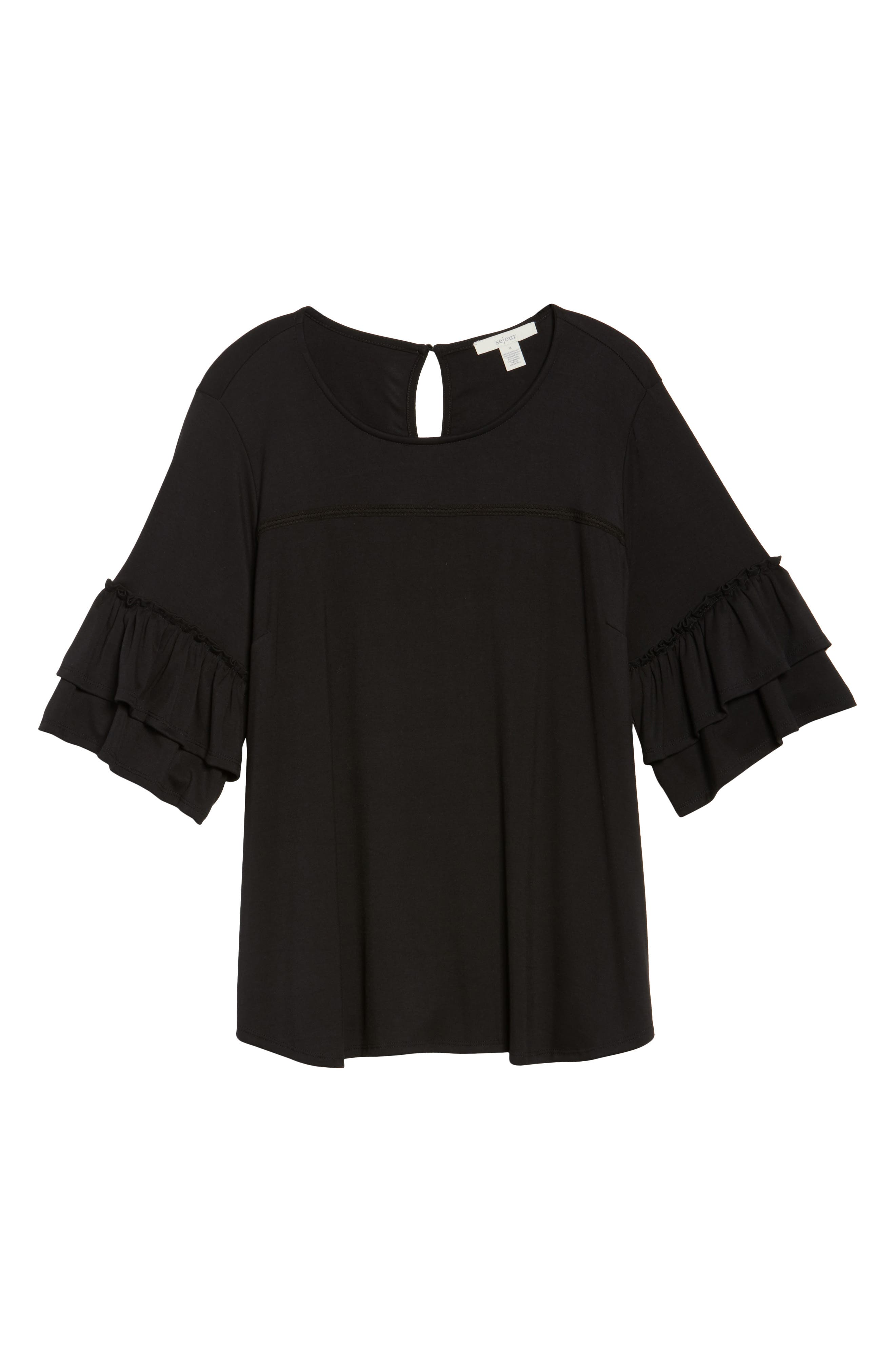 Double Ruffle Sleeve Top,                             Alternate thumbnail 11, color,