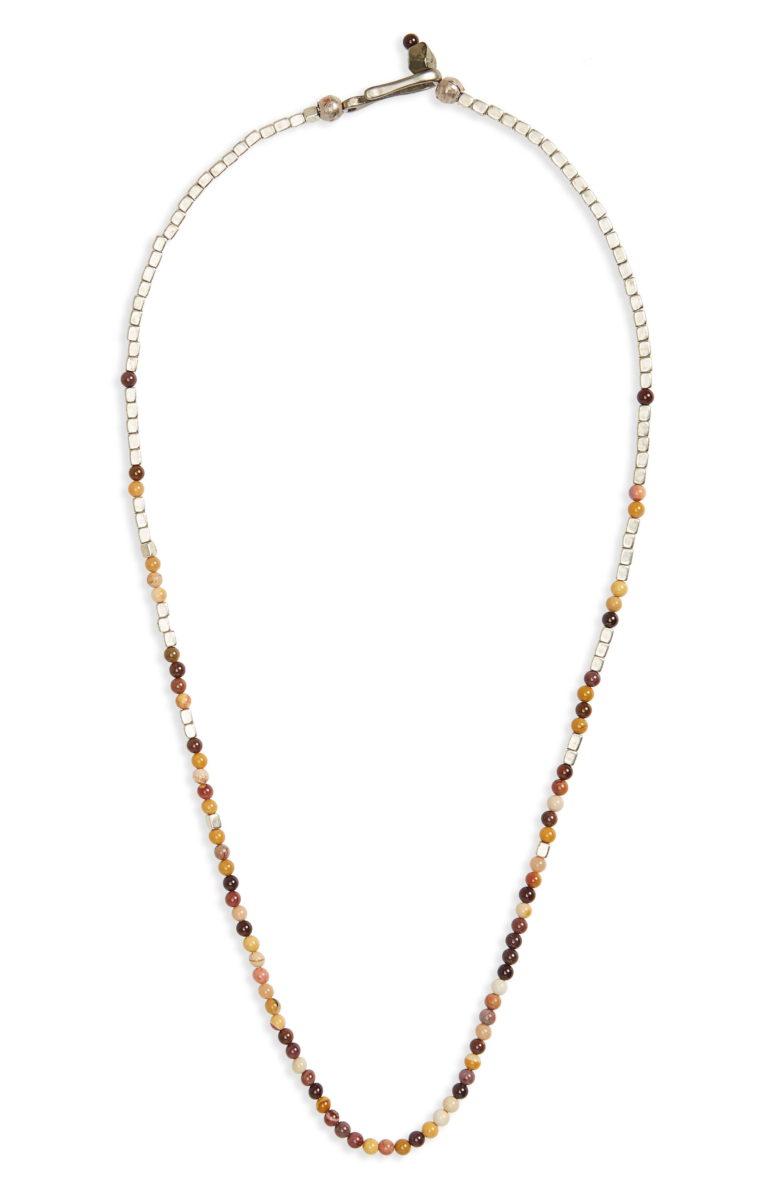 Mookaite Bead Necklace,                         Main,                         color, SILVER/ BROWN