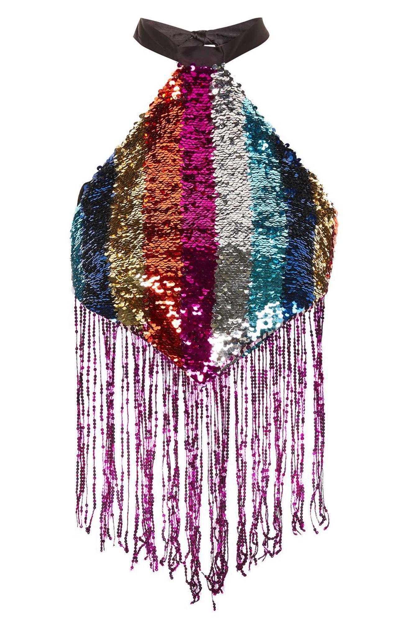 Rainbow Sequin Halter Top,                             Alternate thumbnail 3, color,                             650