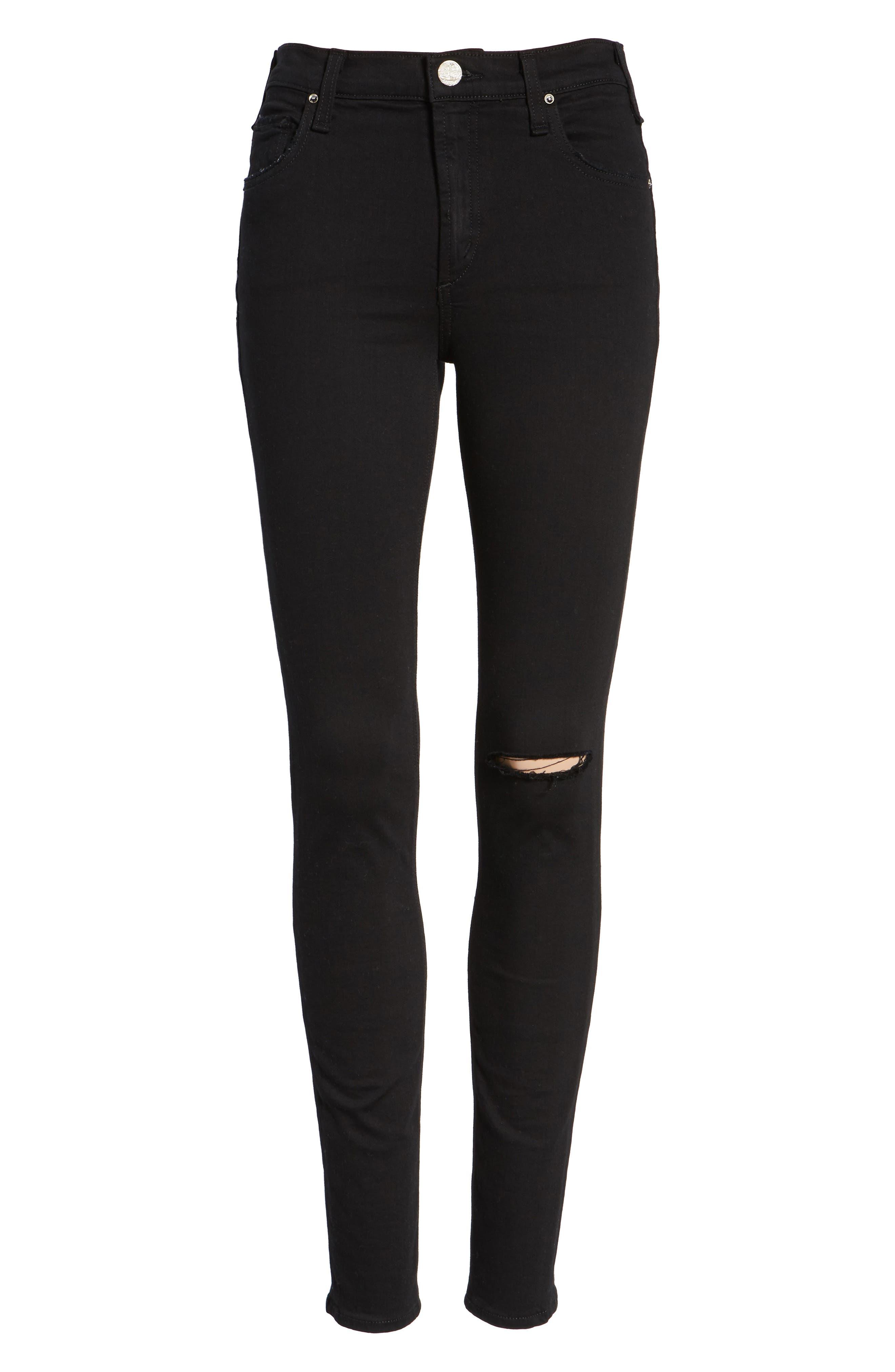 Newton High Waist Ankle Skinny Jeans,                             Alternate thumbnail 6, color,                             001