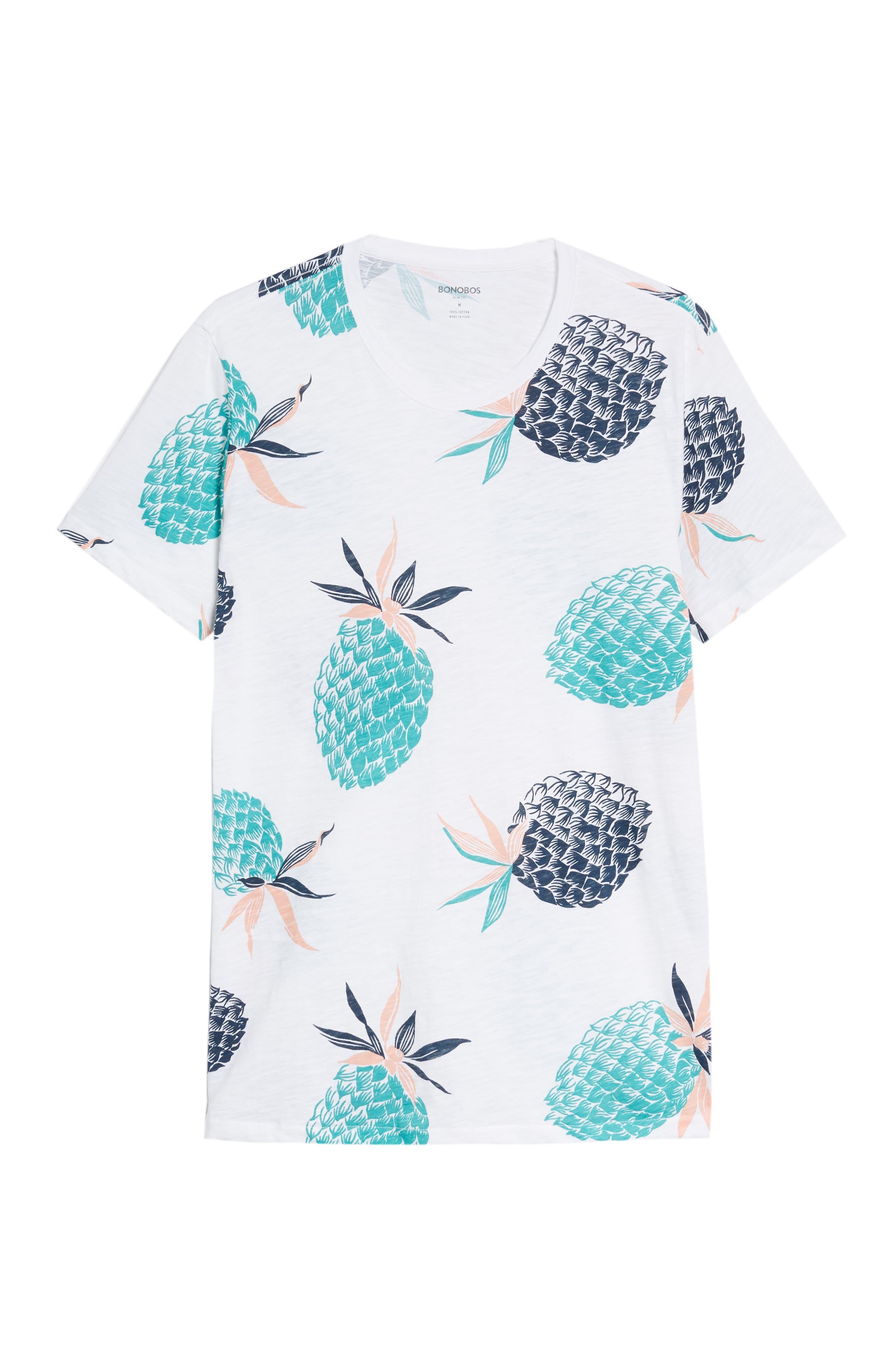 Pineapple Party Slim Fit T-Shirt,                             Alternate thumbnail 6, color,                             100
