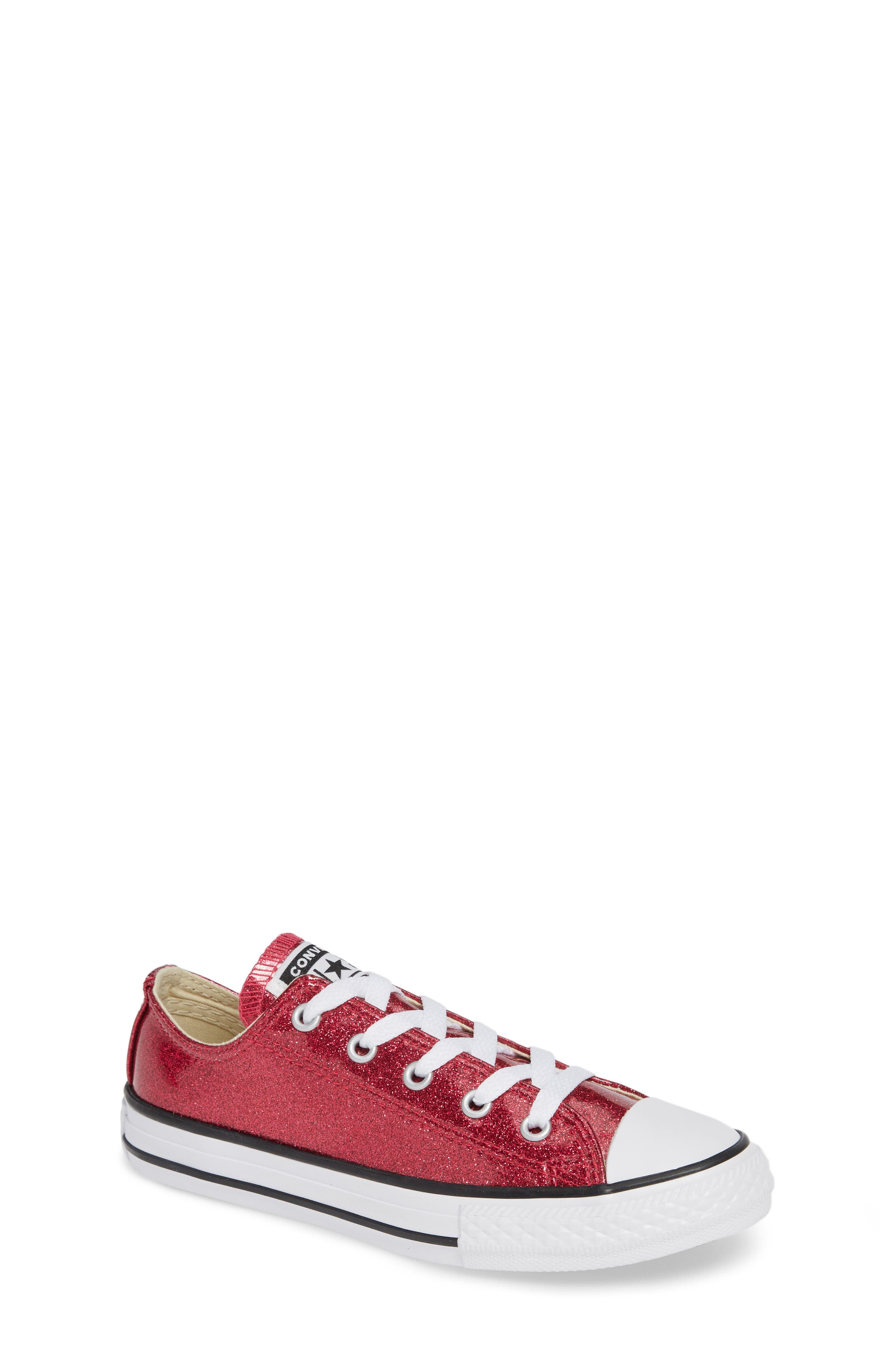 CONVERSE All Star<sup>®</sup> Seasonal Glitter OX Low Top Sneaker, Main, color, PINK POP