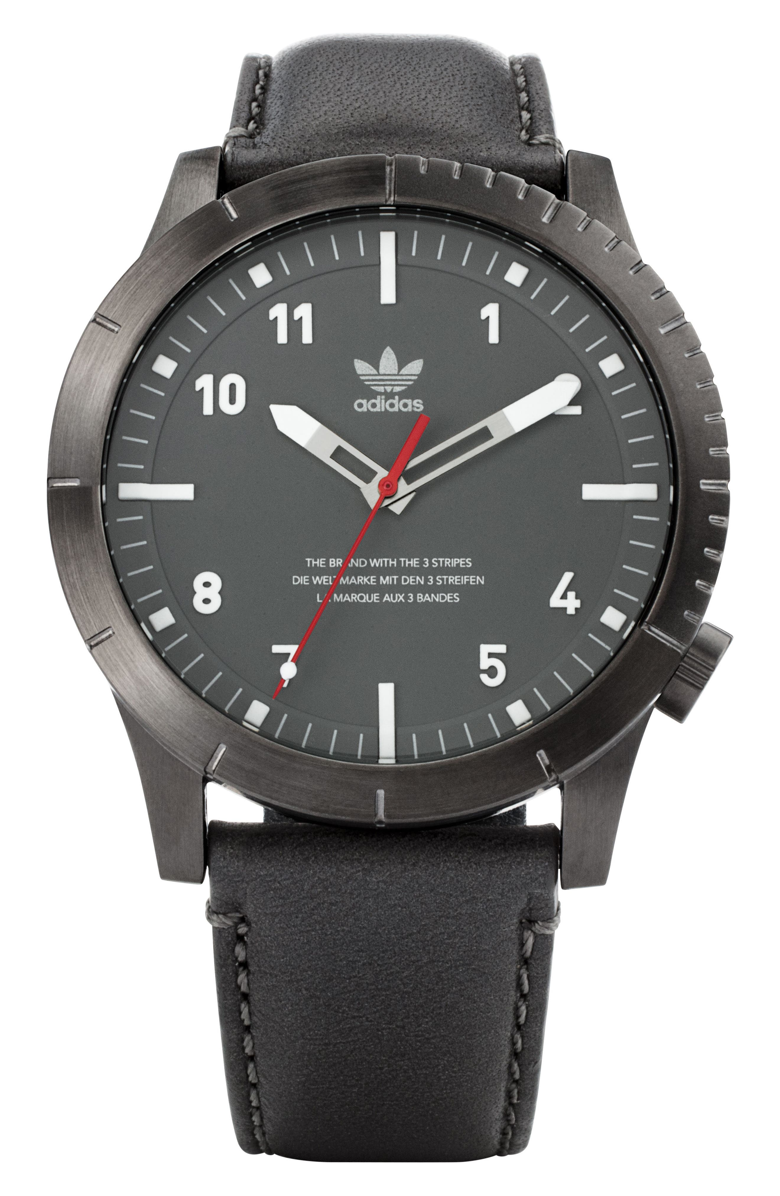 ADIDAS Cypher Leather Strap Watch, 42mm, Main, color, GUNMETAL/ CHARCOAL