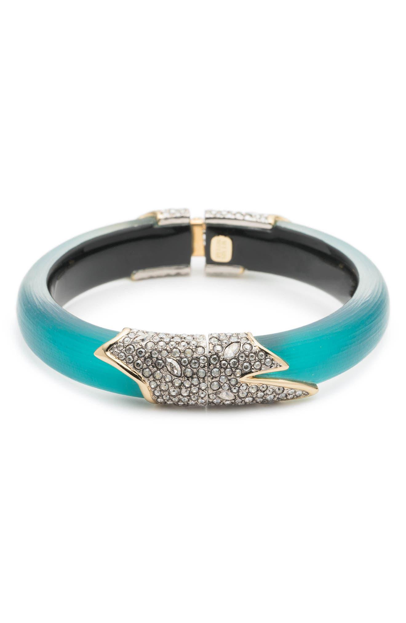 Crystal Encrusted Feather Hinge Bracelet,                             Alternate thumbnail 4, color,                             400