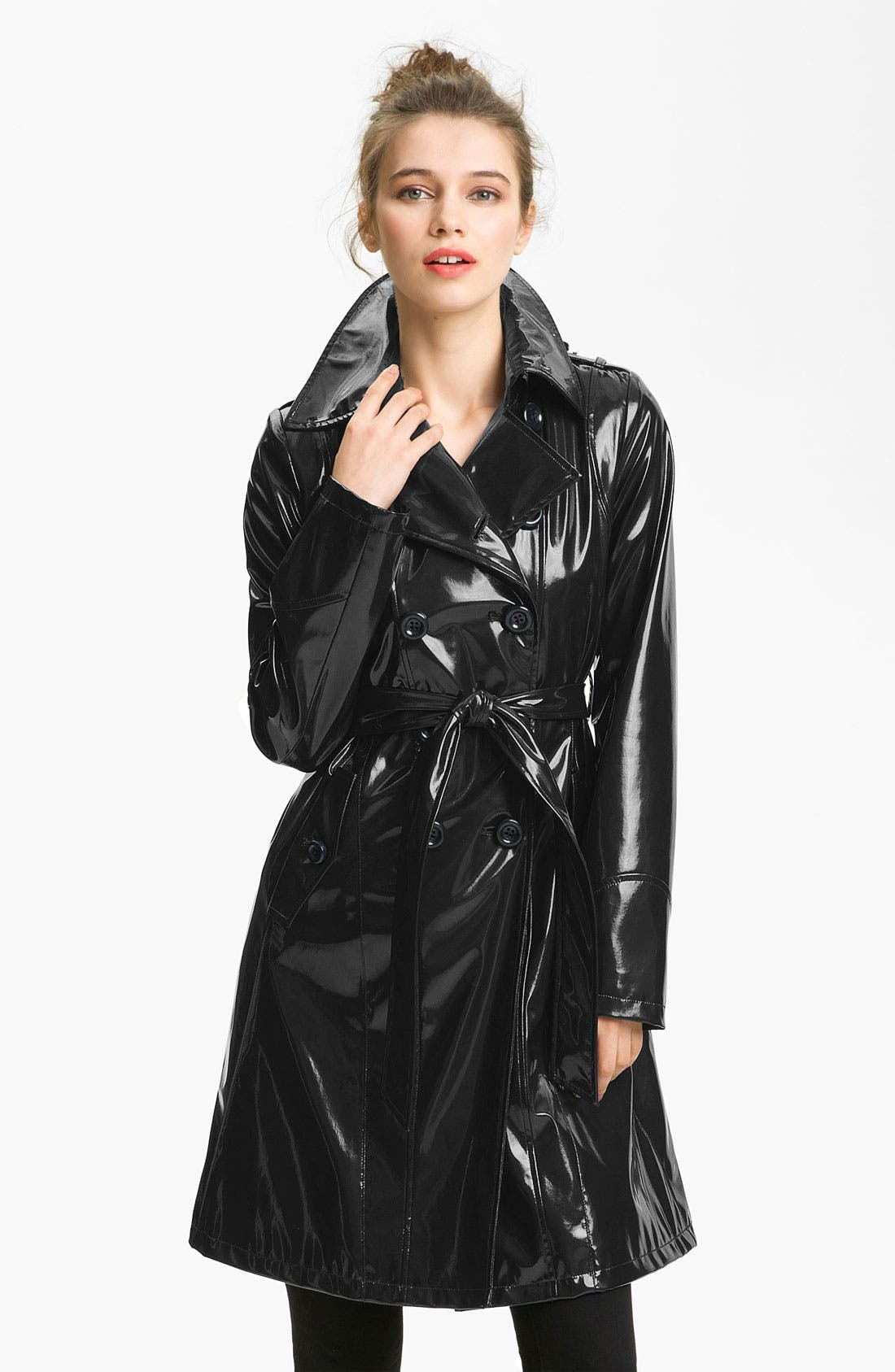 Double Breasted Patent Rain Slicker,                             Main thumbnail 1, color,                             001