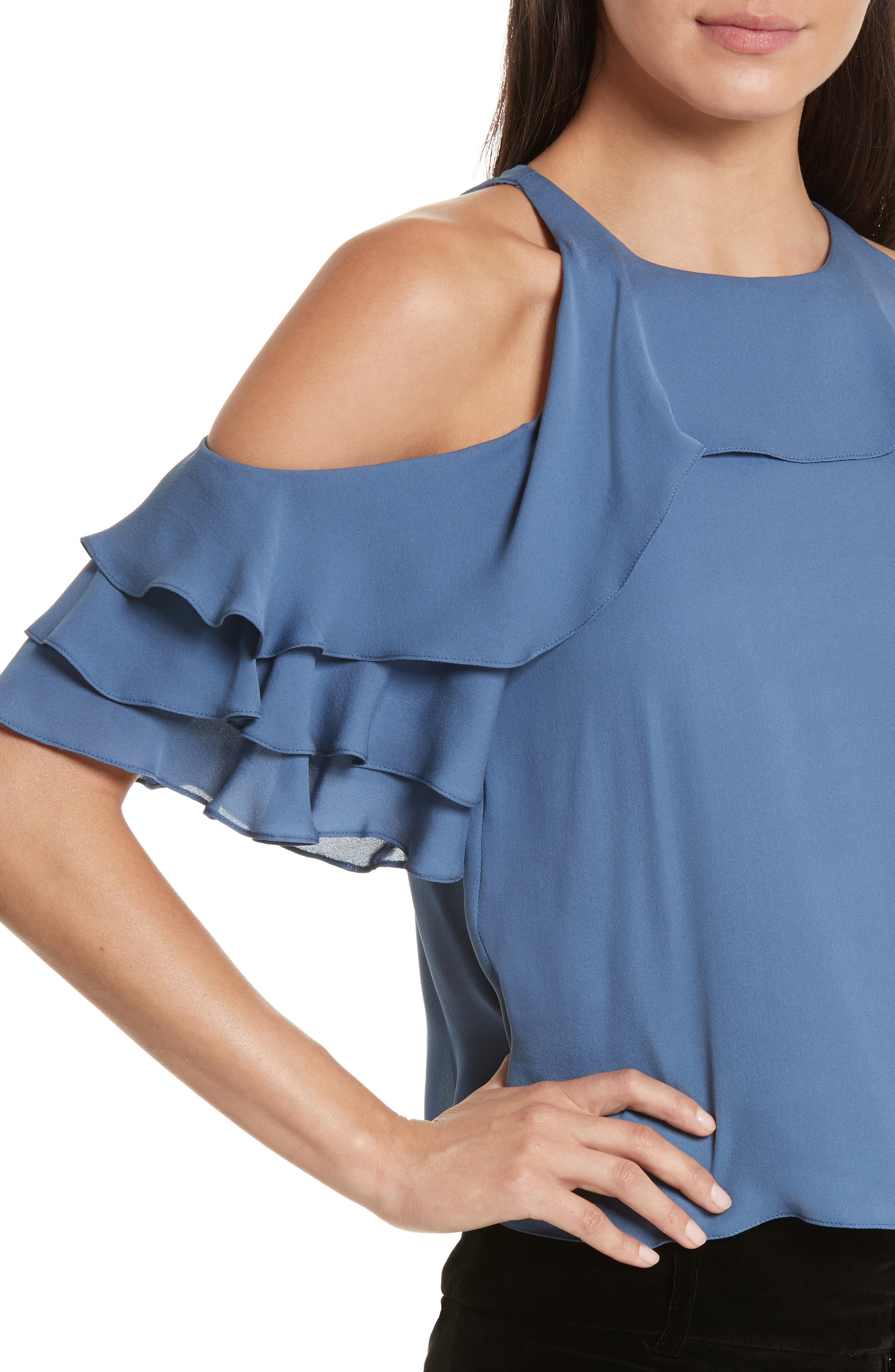 Idalla Cold Shoulder Ruffle Silk Blouse,                             Alternate thumbnail 4, color,                             401