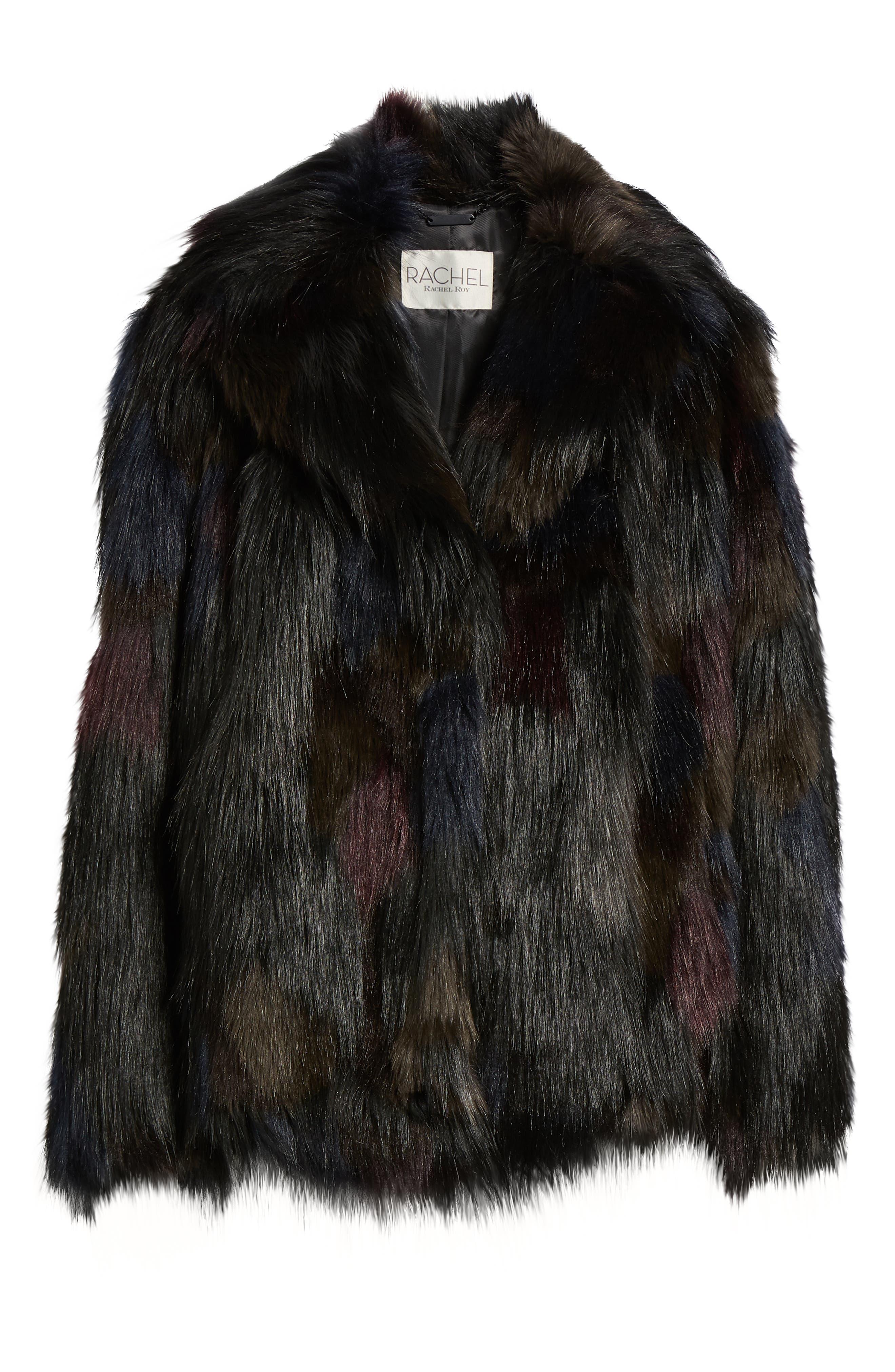 Multicolored Faux Fur Jacket,                             Alternate thumbnail 6, color,                             MULTI