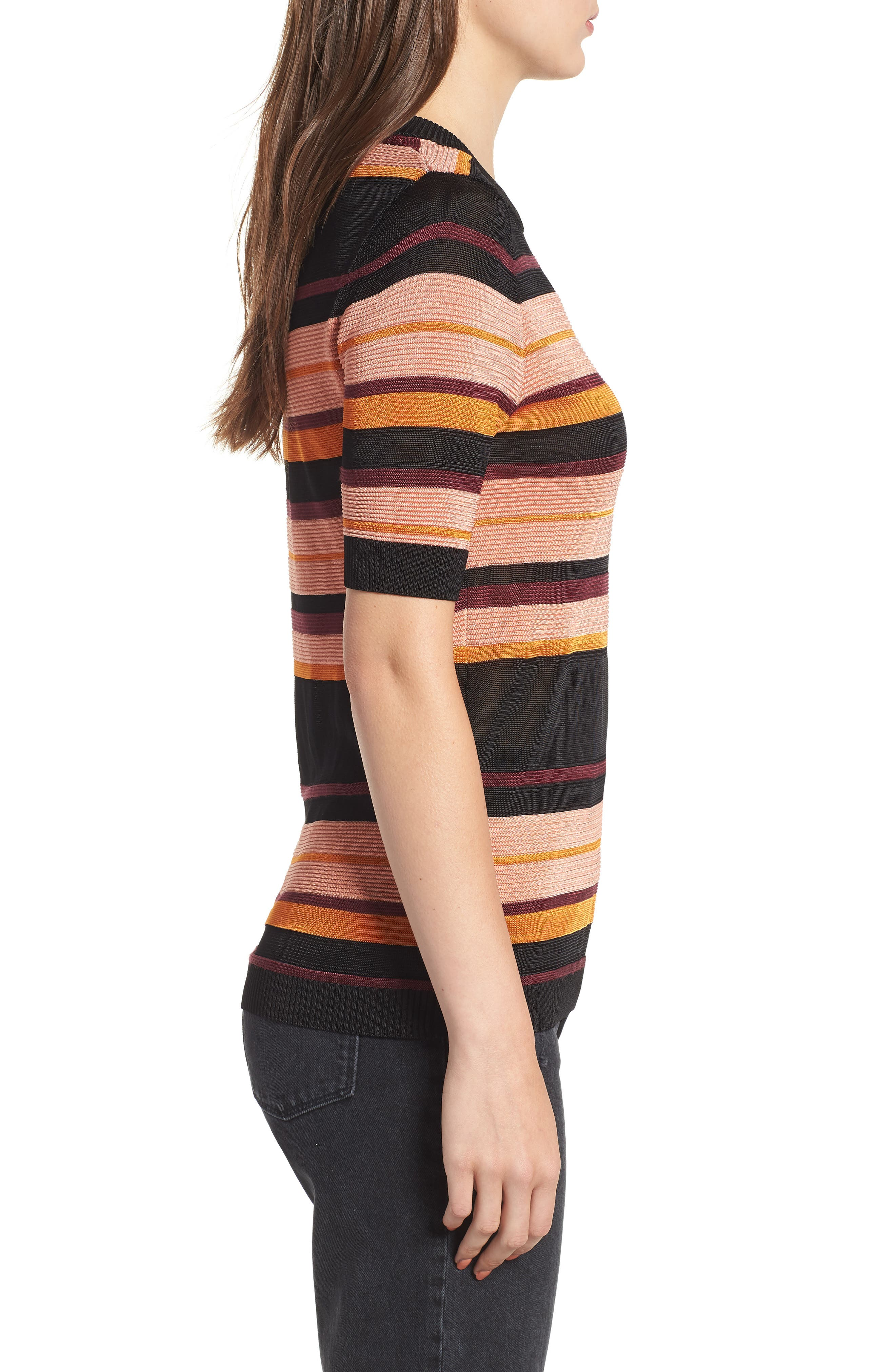 Stripe Knit Top,                             Alternate thumbnail 3, color,                             931