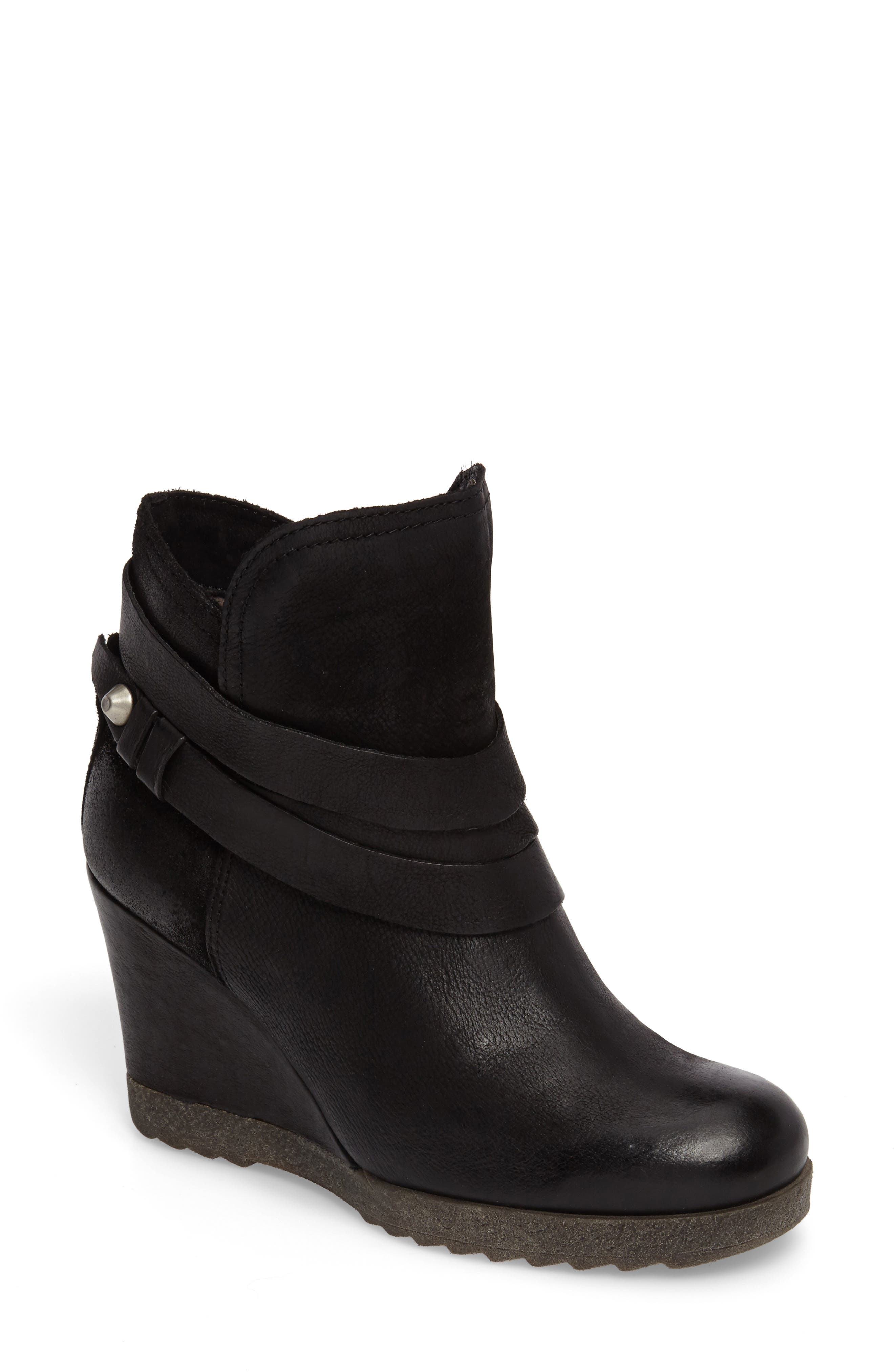 Narcissa Ankle Wrap Wedge Bootie,                             Main thumbnail 1, color,                             001