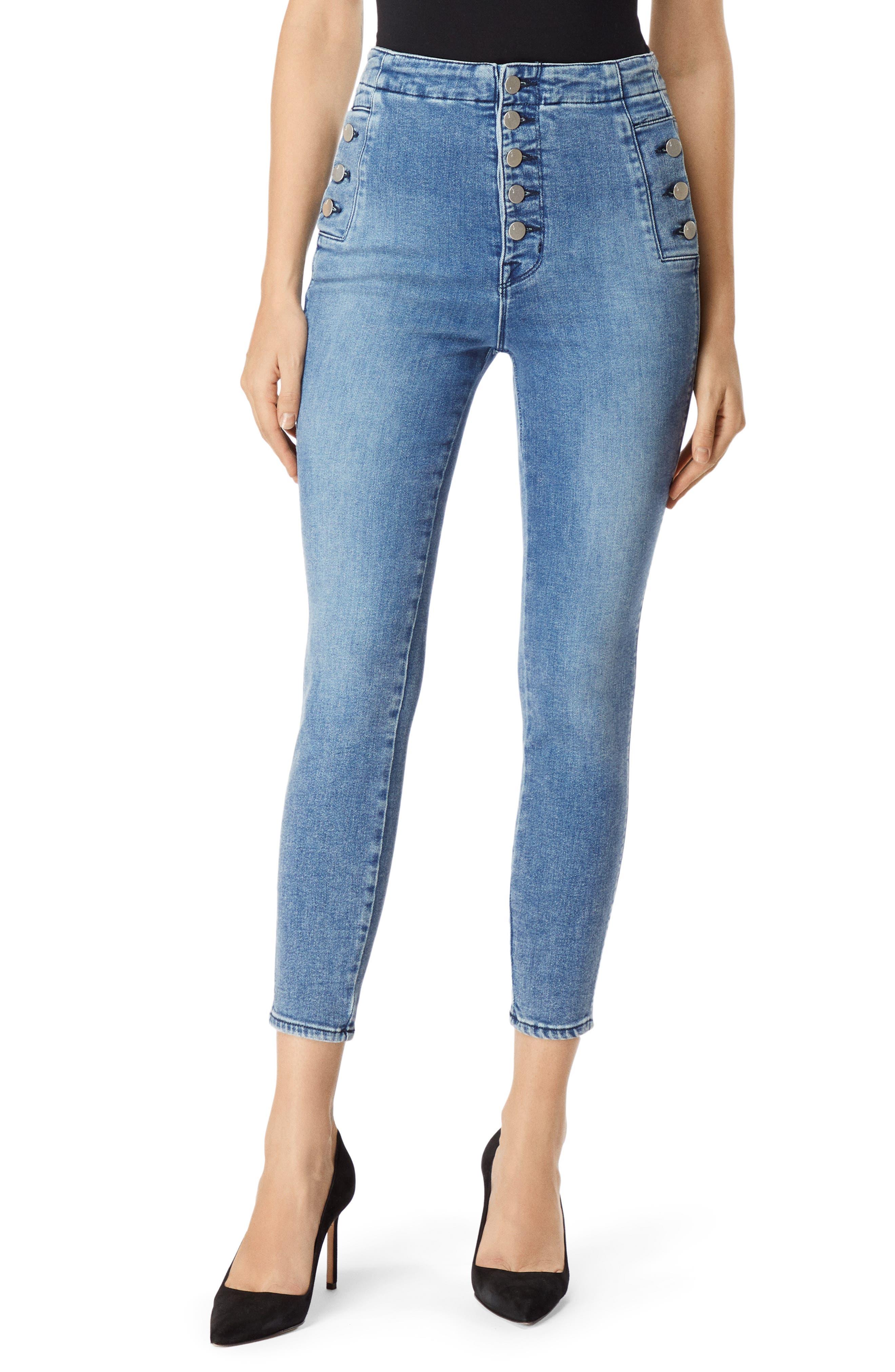 Natasha Sky High Crop Skinny Jeans In Meteor in Blue