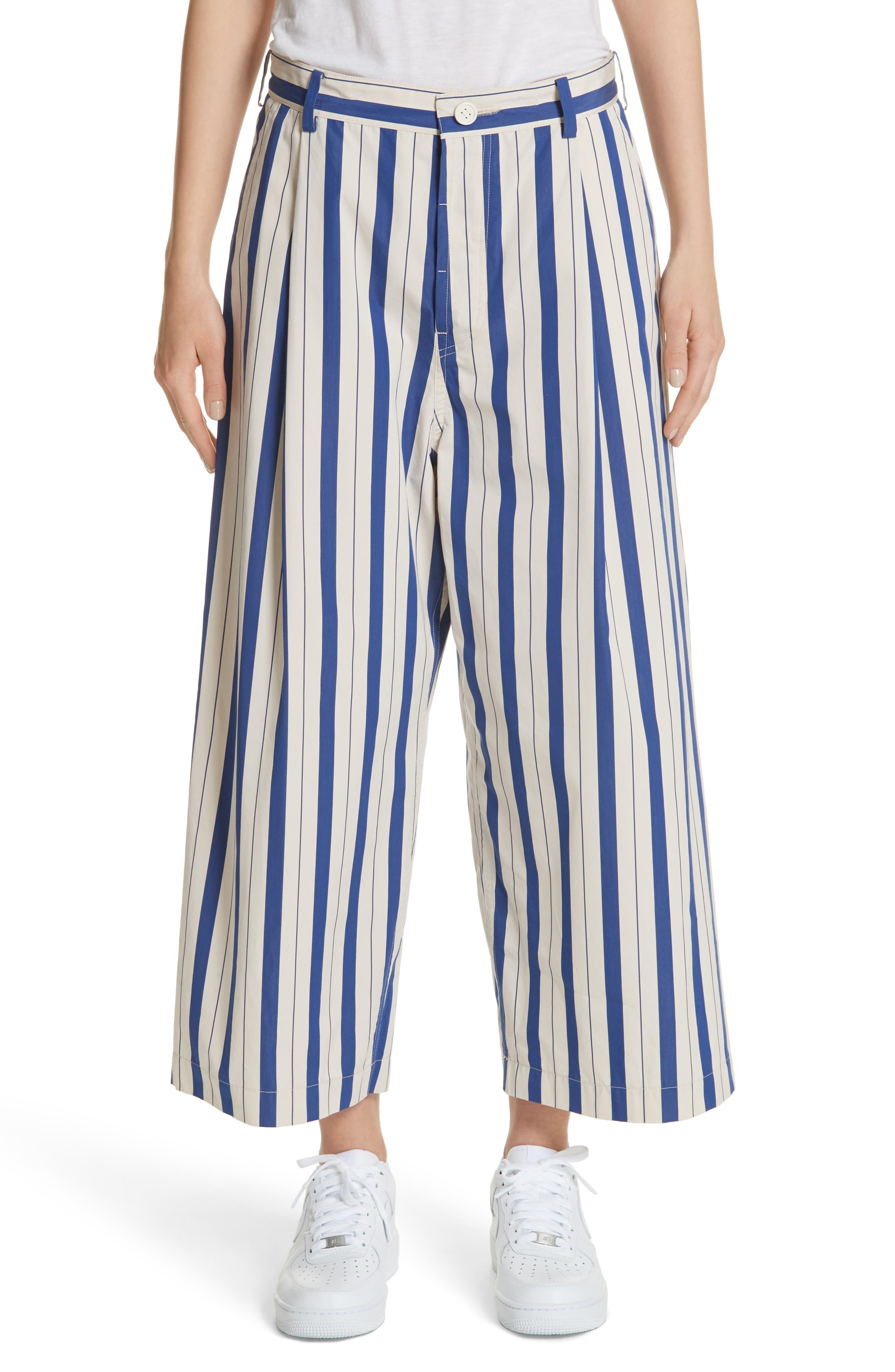 Stripe Wide Leg Pants,                             Main thumbnail 1, color,                             100